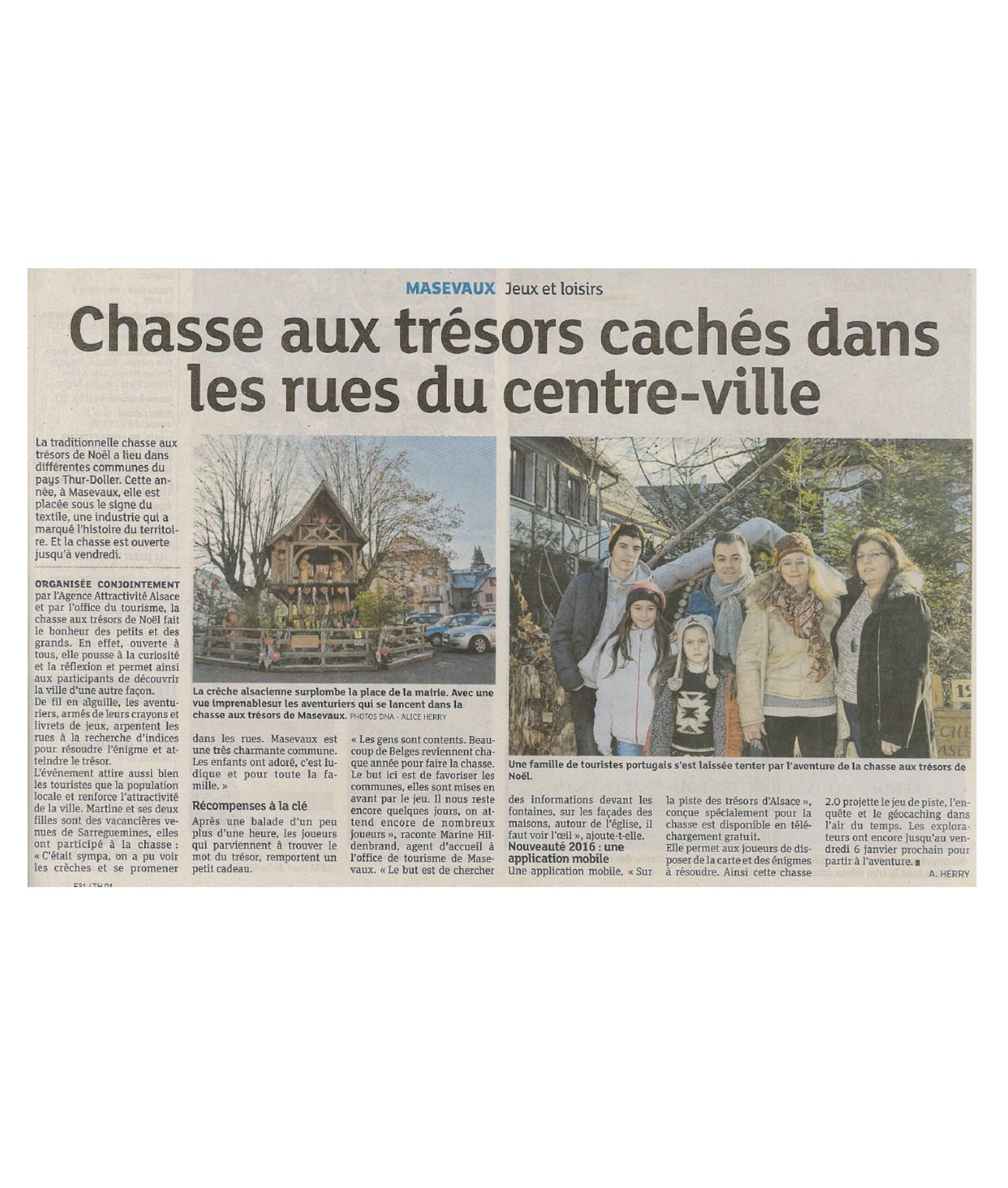 Chasse aux trésors cachés dans les rues du centre-ville - L'Alsace (05-01-2017) (1)