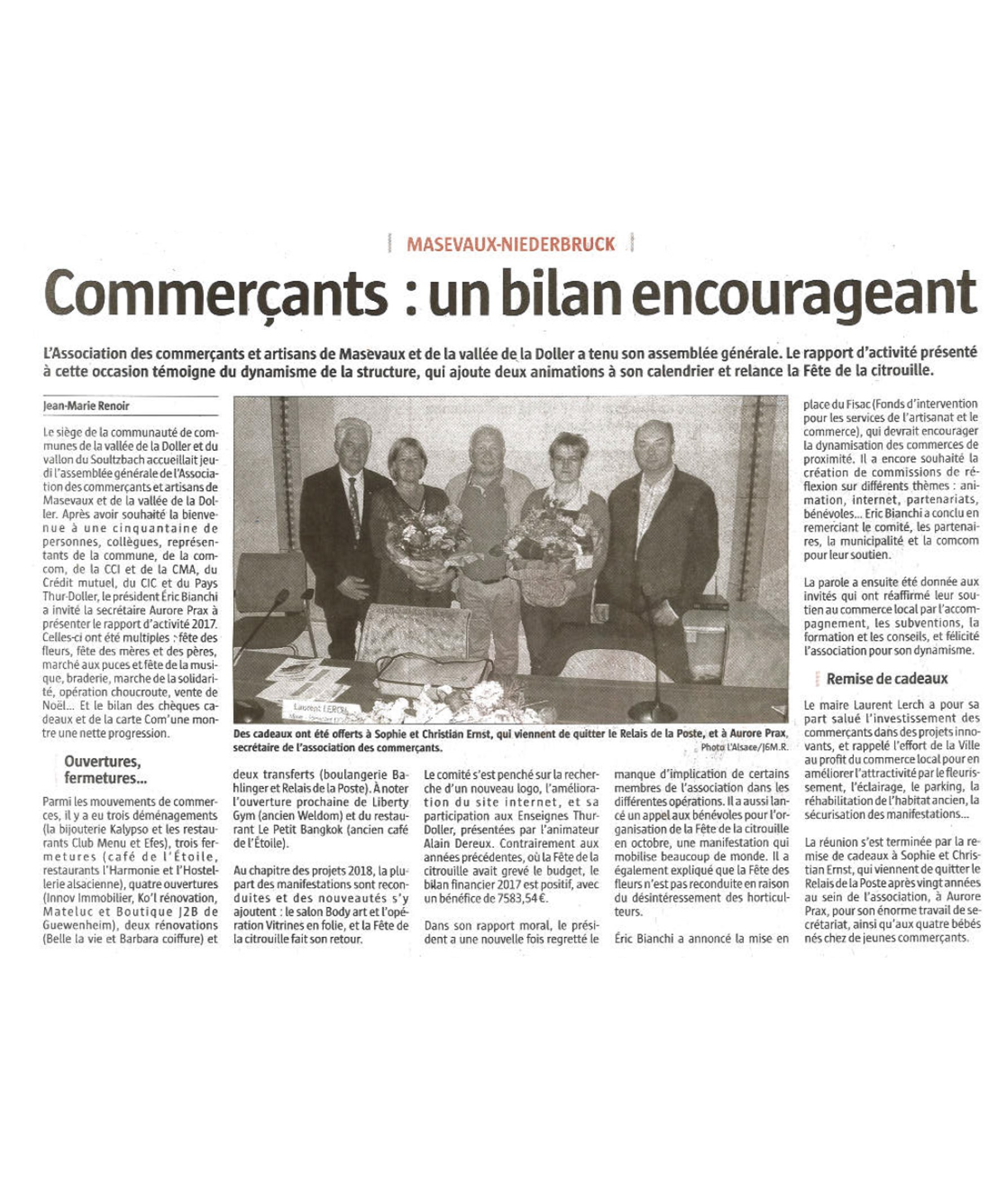 Commerçants - Un bilan encourageant - L'Alsace (15-04-2018)