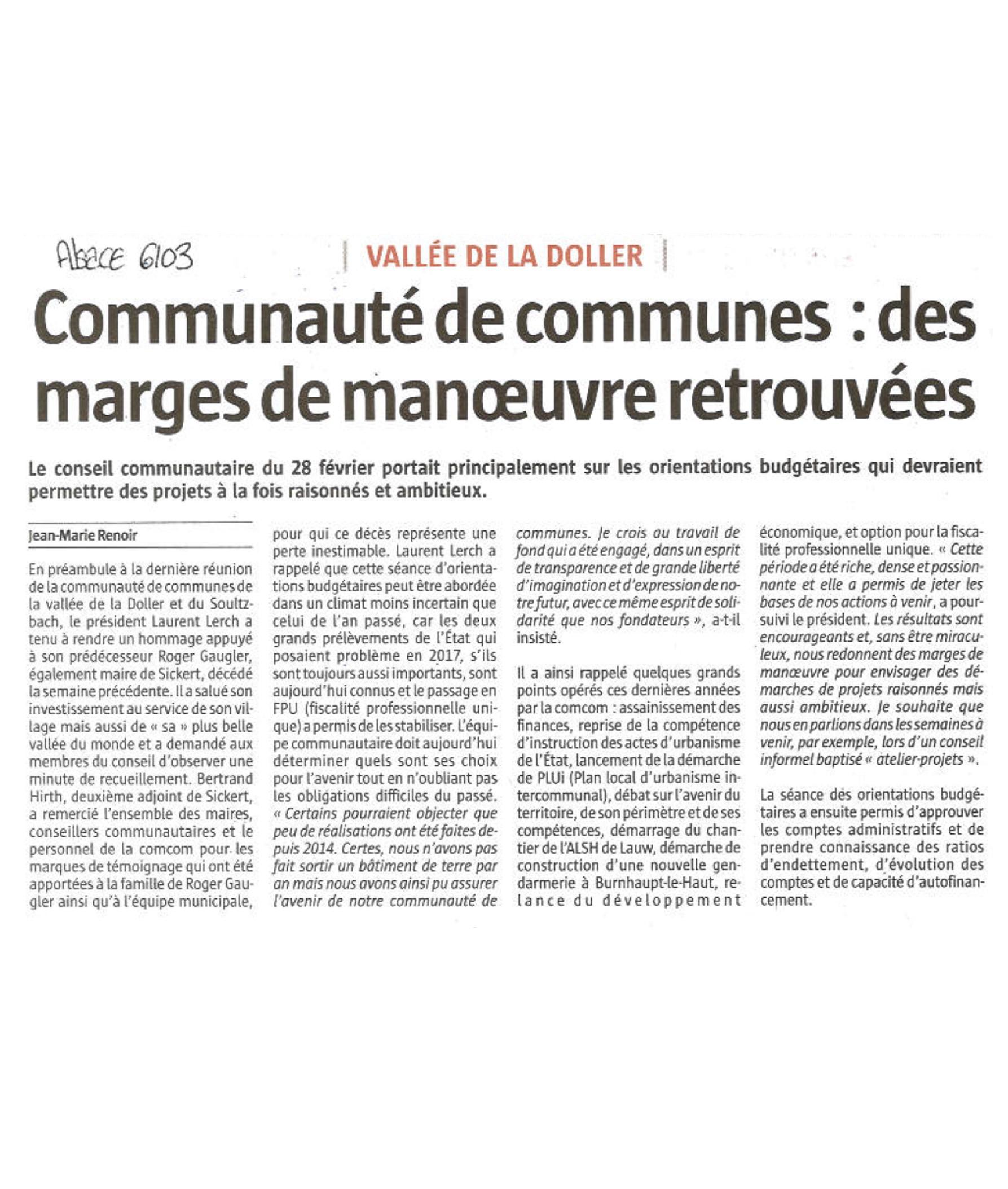 Communauté de Communes - Des marges de manoeuvre retrouvées - L'Alsace (06-03-2018)