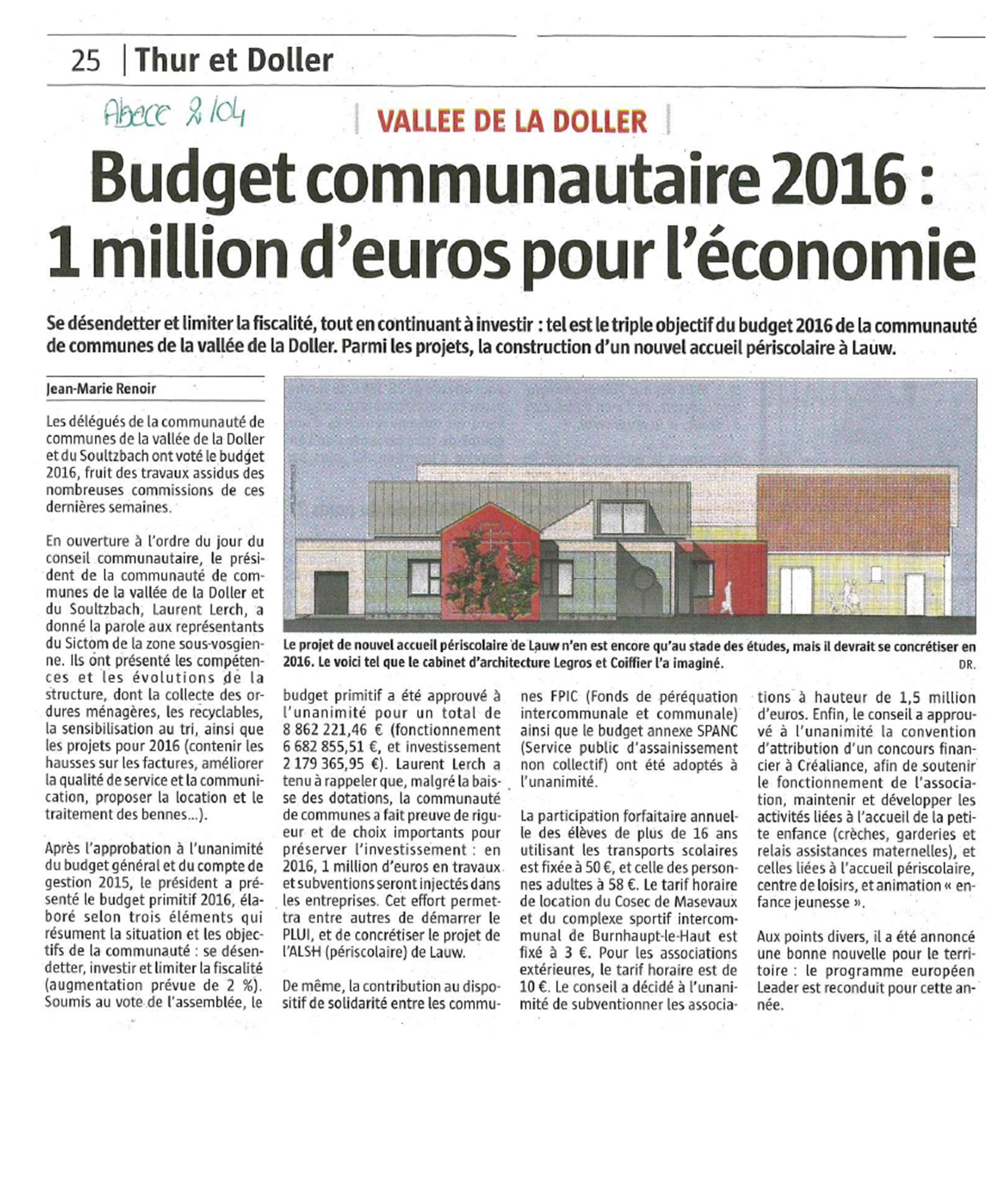 Conseil communautaire 30 mars 2016 - L'Alsace
