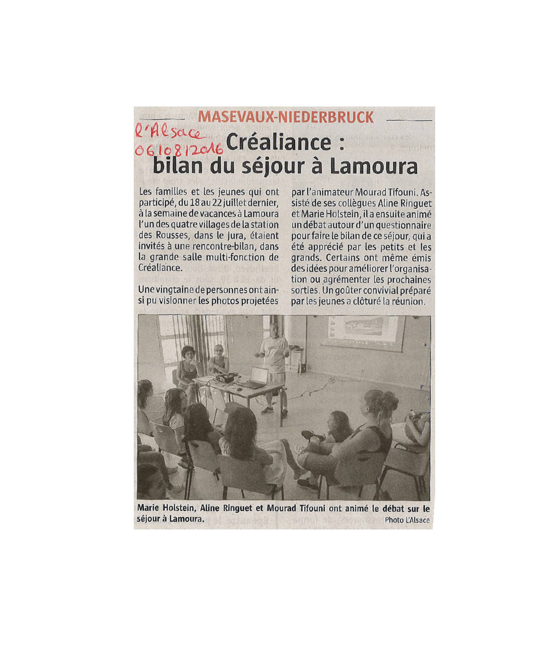 Créaliance - Bilan du séjour à Lamoura - L'Alsace - 06-08-2016