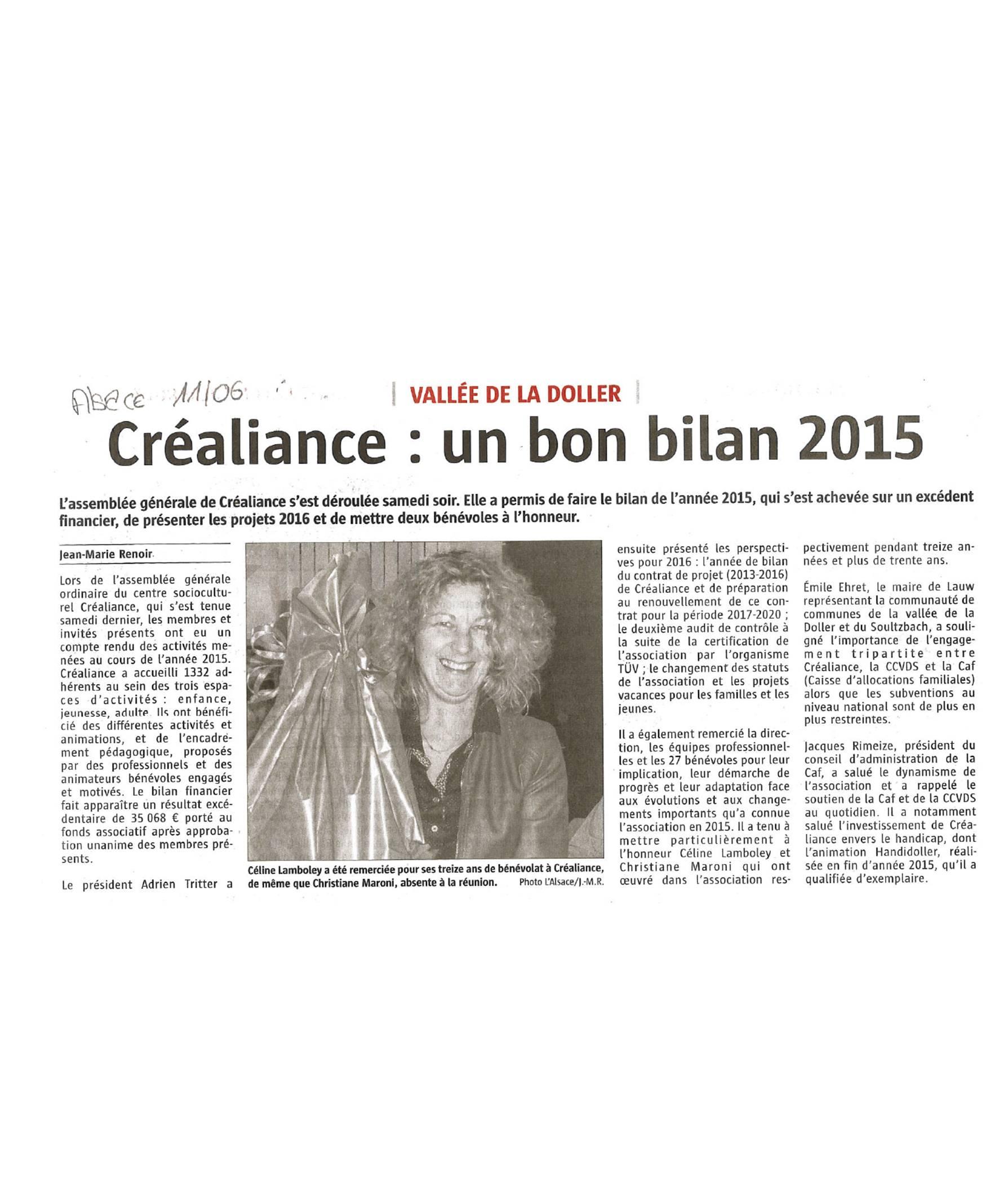 Créaliance - L'Alsace - 11-06-2016