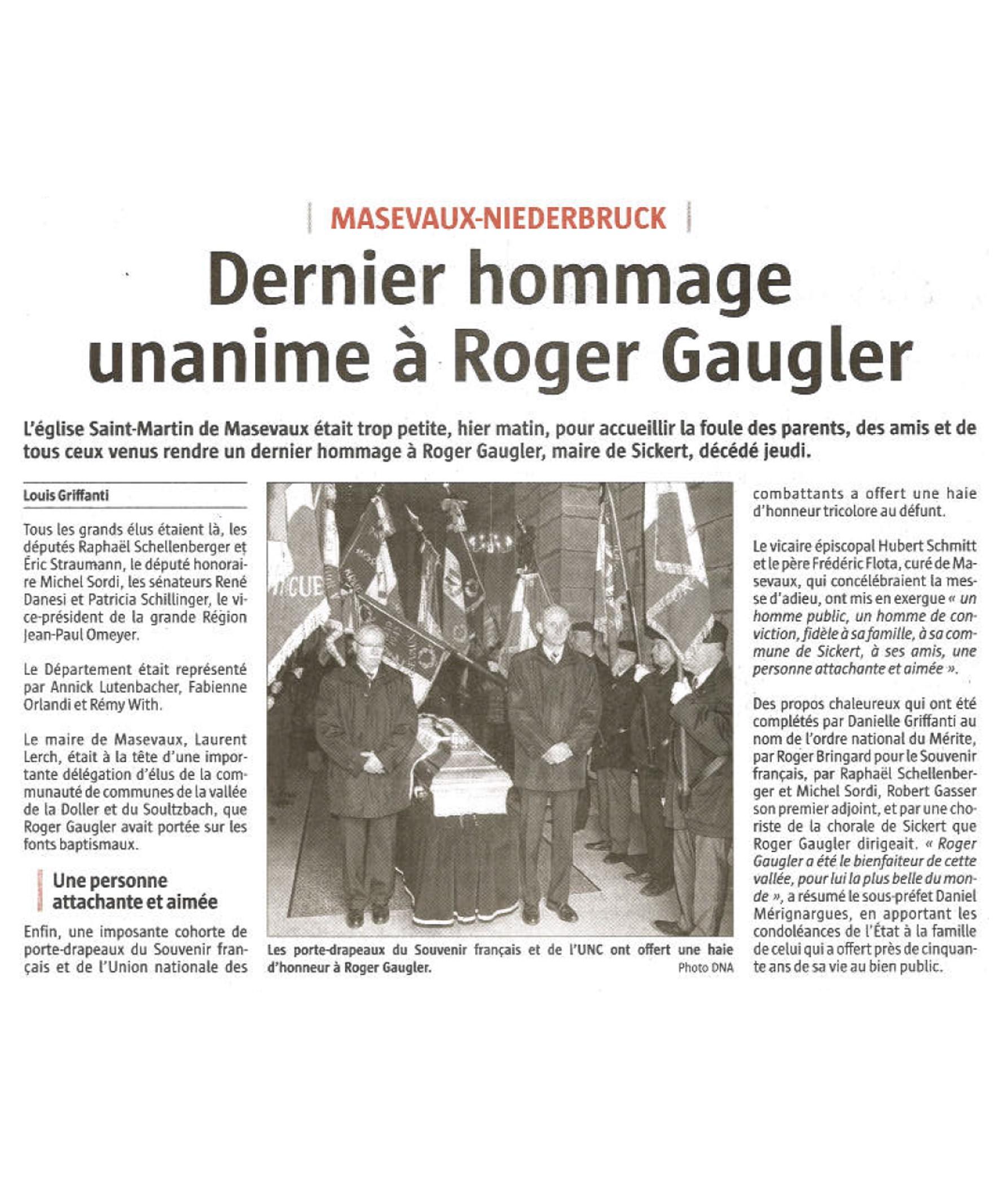 Dernier hommage unanime à Roger Gaugler - L'Alsace (25-02-2018)