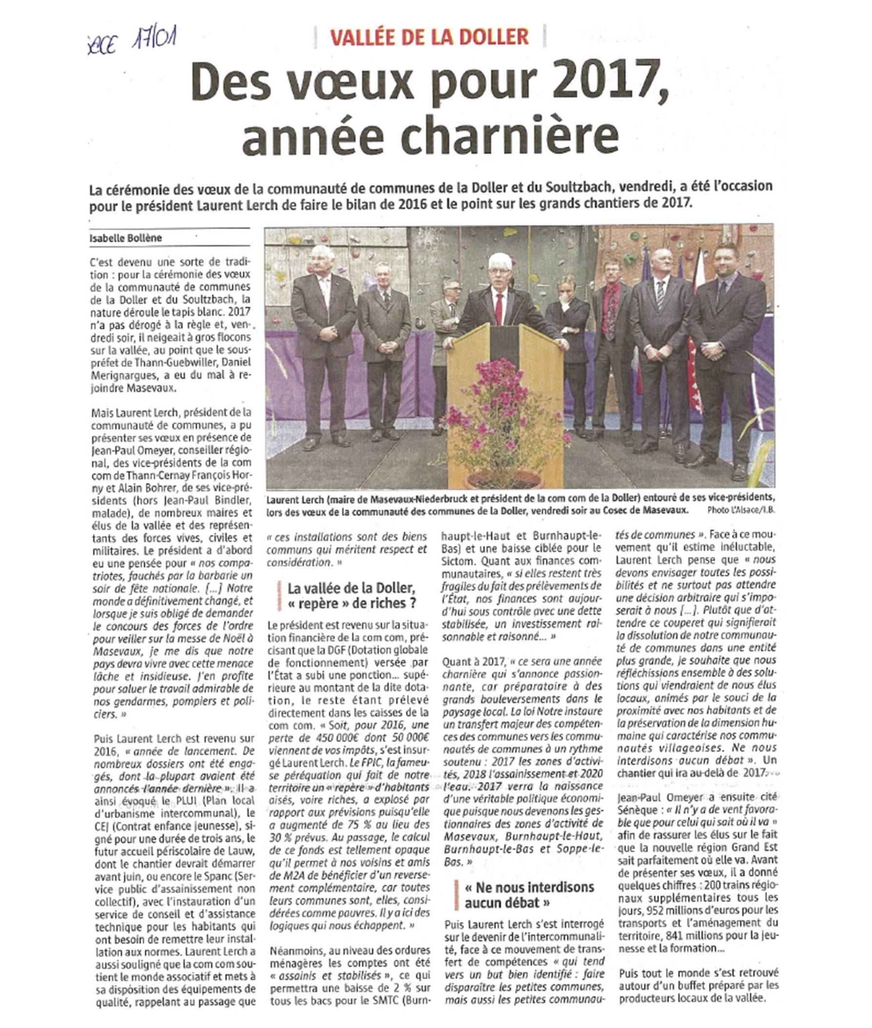 Des voeux pour 2017, année charnière - L'Alsace (17-01-2017)