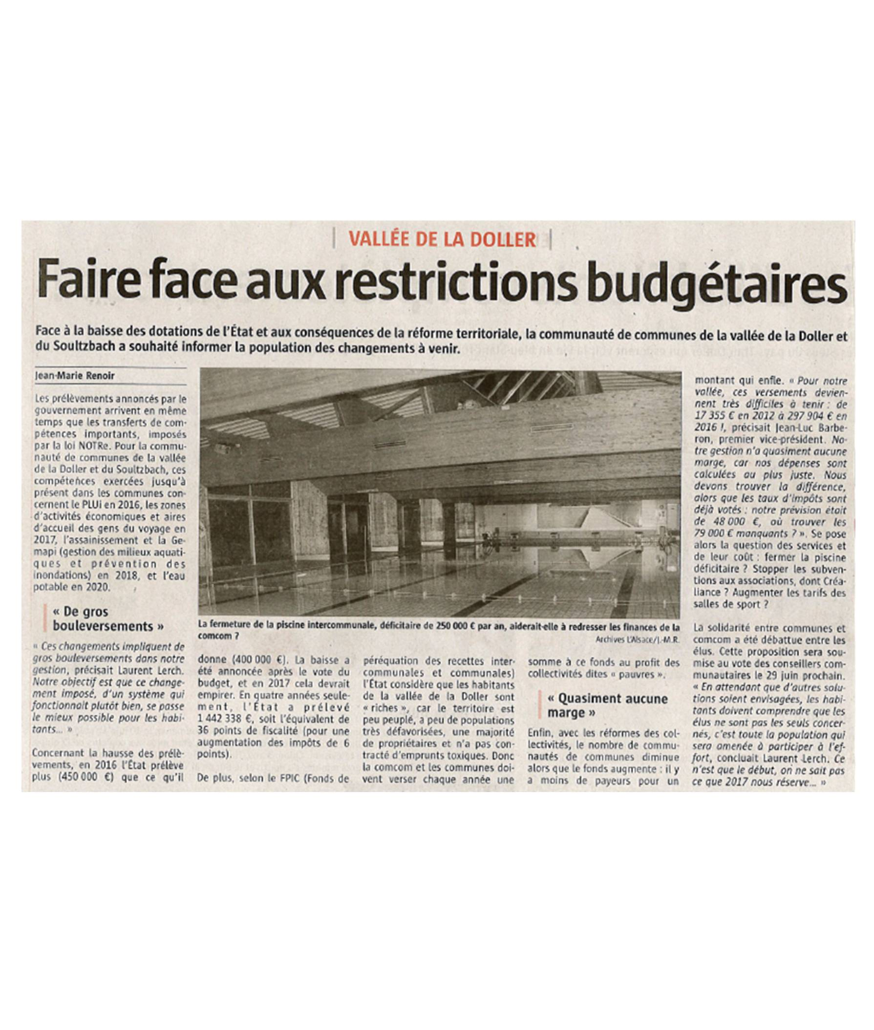 Faire face aux restrictions budgetaires - L'Aslsace - 19-06-2016
