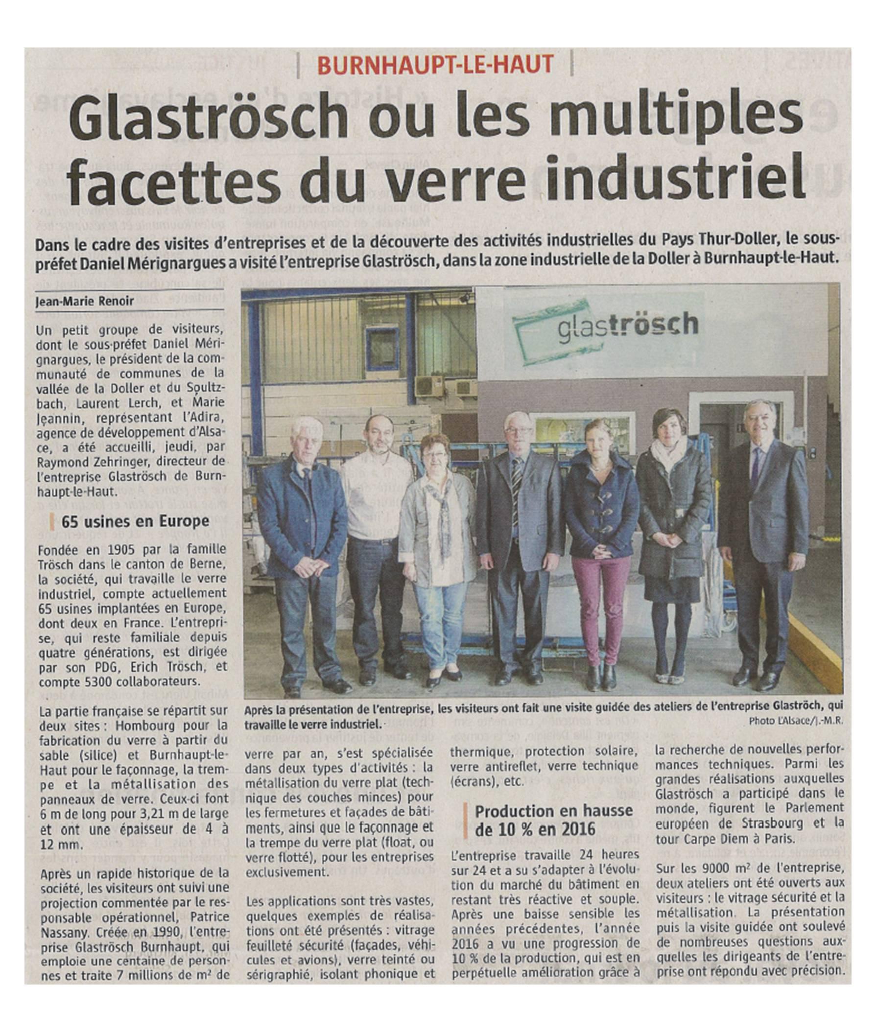 Glaströsch ou les multiples facettes du verre industriel - L'Alsace (18-02-2017)