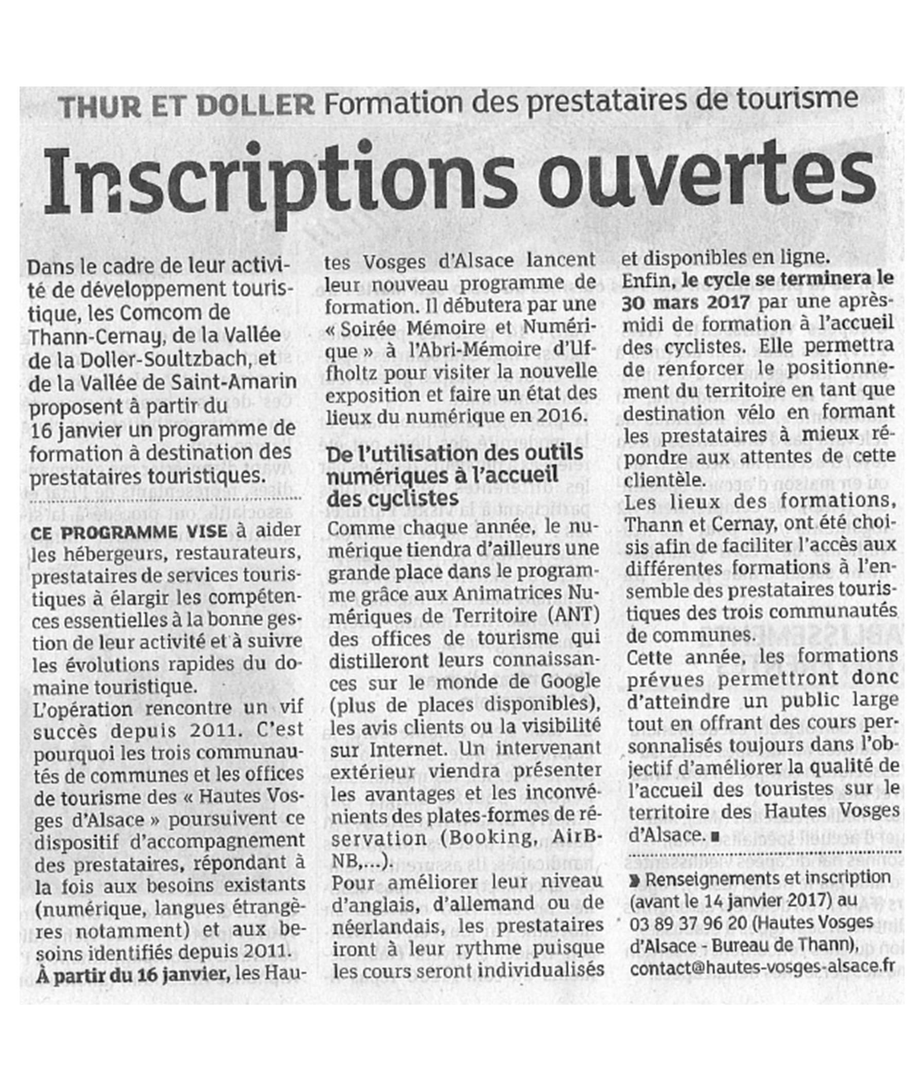 Inscriptions ouvertes - L'Alsace (11-01-2017)