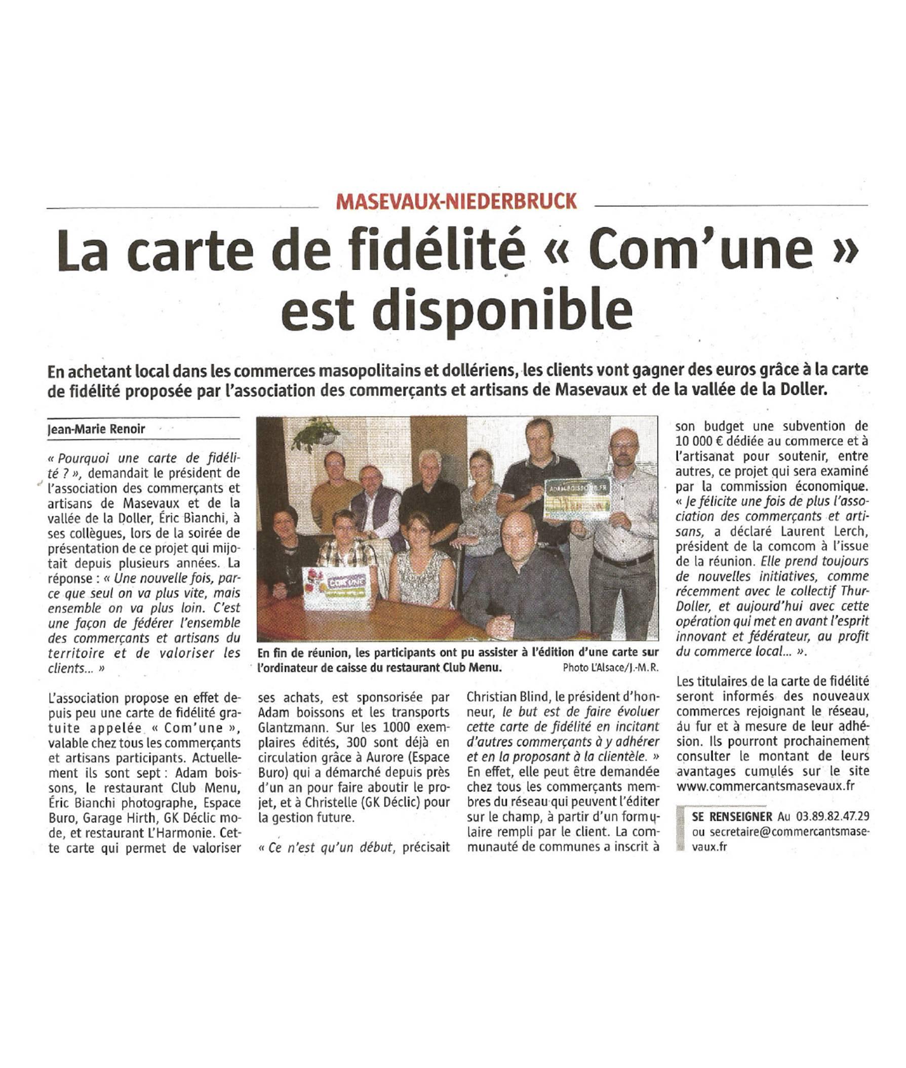 La carte de fidélité Comm'une est disponible - L'Alsace - 30-09-2016