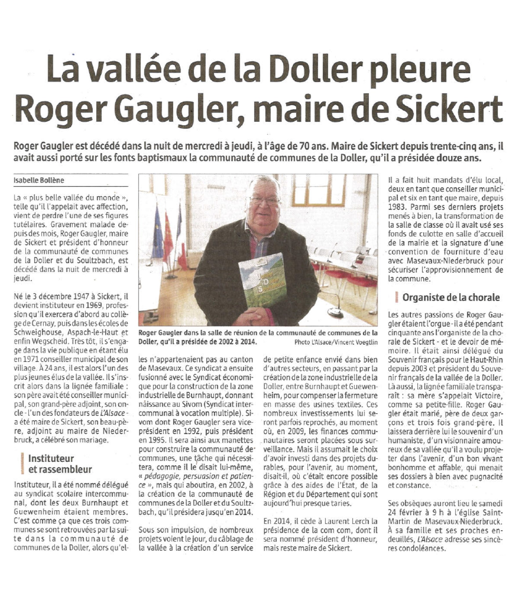 La vallée de la Doller pleure Roger Gaugler, maire de Sickert - L'Alsace (23-02-2018)