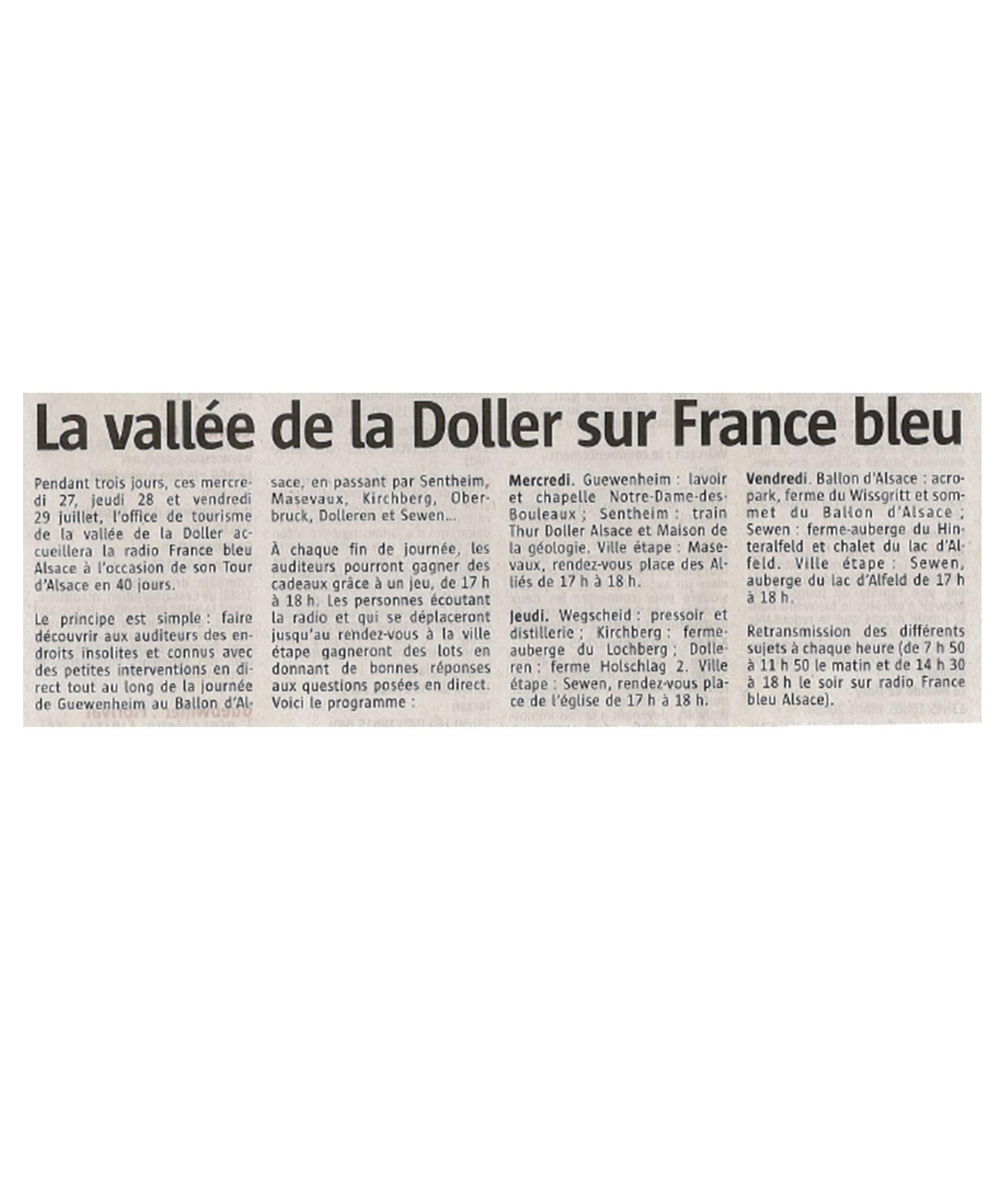 La vallée de la Doller sur France Bleu - L'Alsace - 26-07-2016