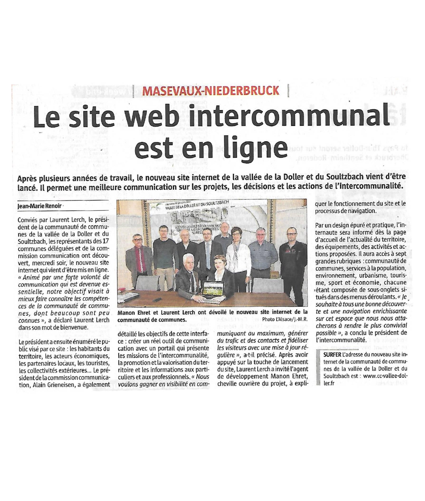 Lancement d'un nouveau site web - L'Alsace
