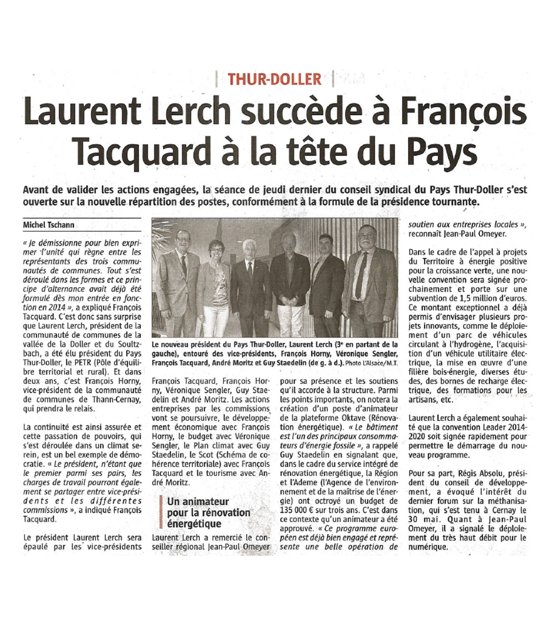 Laurent Lerch succède à François Tacquard à la tête du Pays - L'Alsace (21-06-2016)