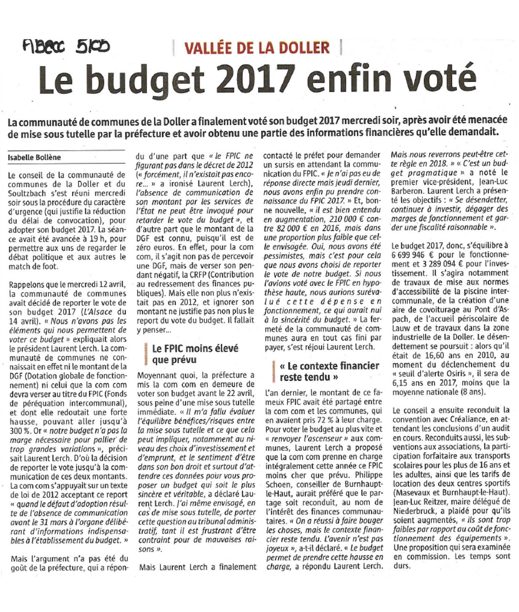 Le budget 2017 enfin voté - L'Alsace - 05-05-2017