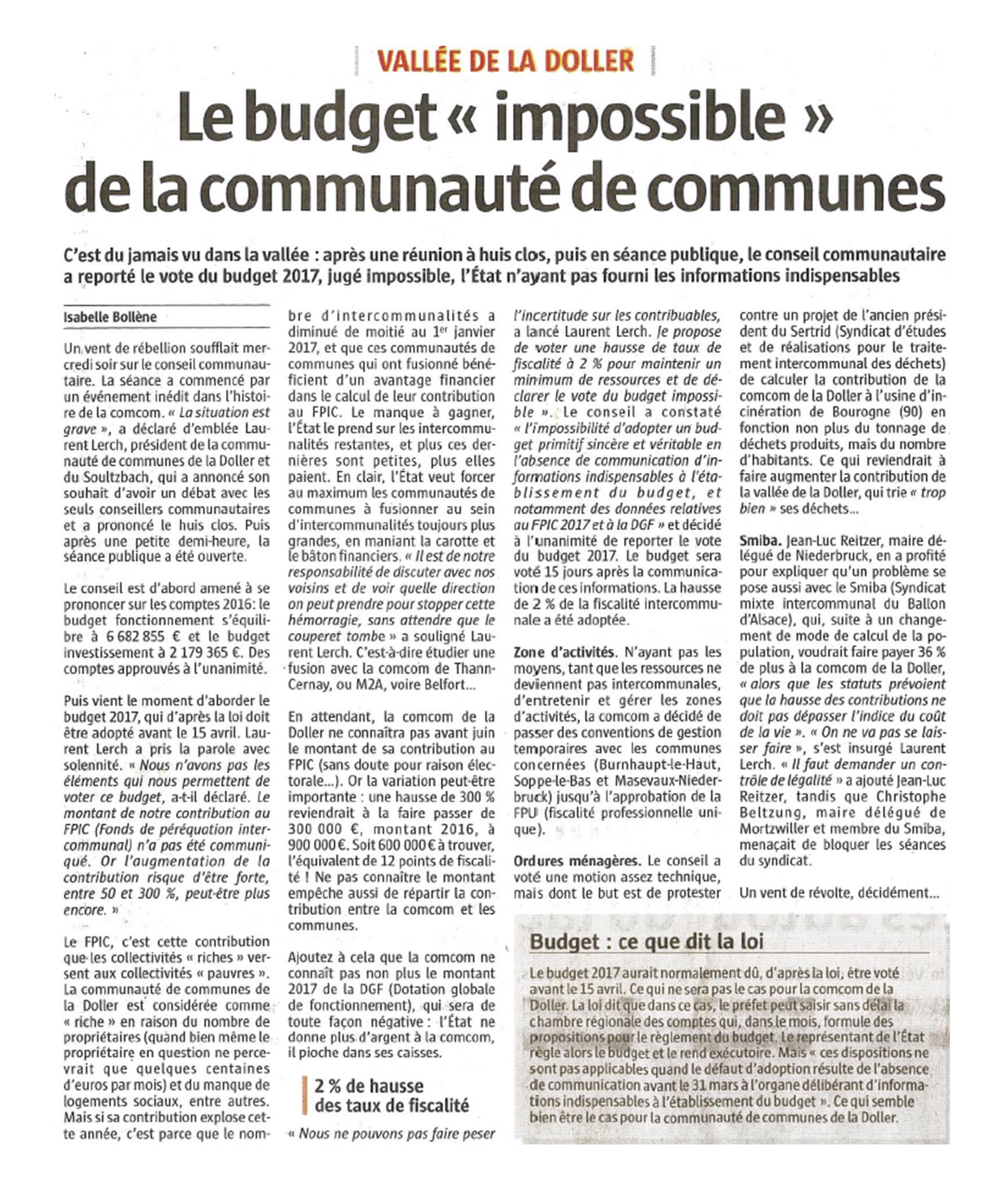 Le budget impossible de la communauté de communes - L'Alsace (15-04-2017)