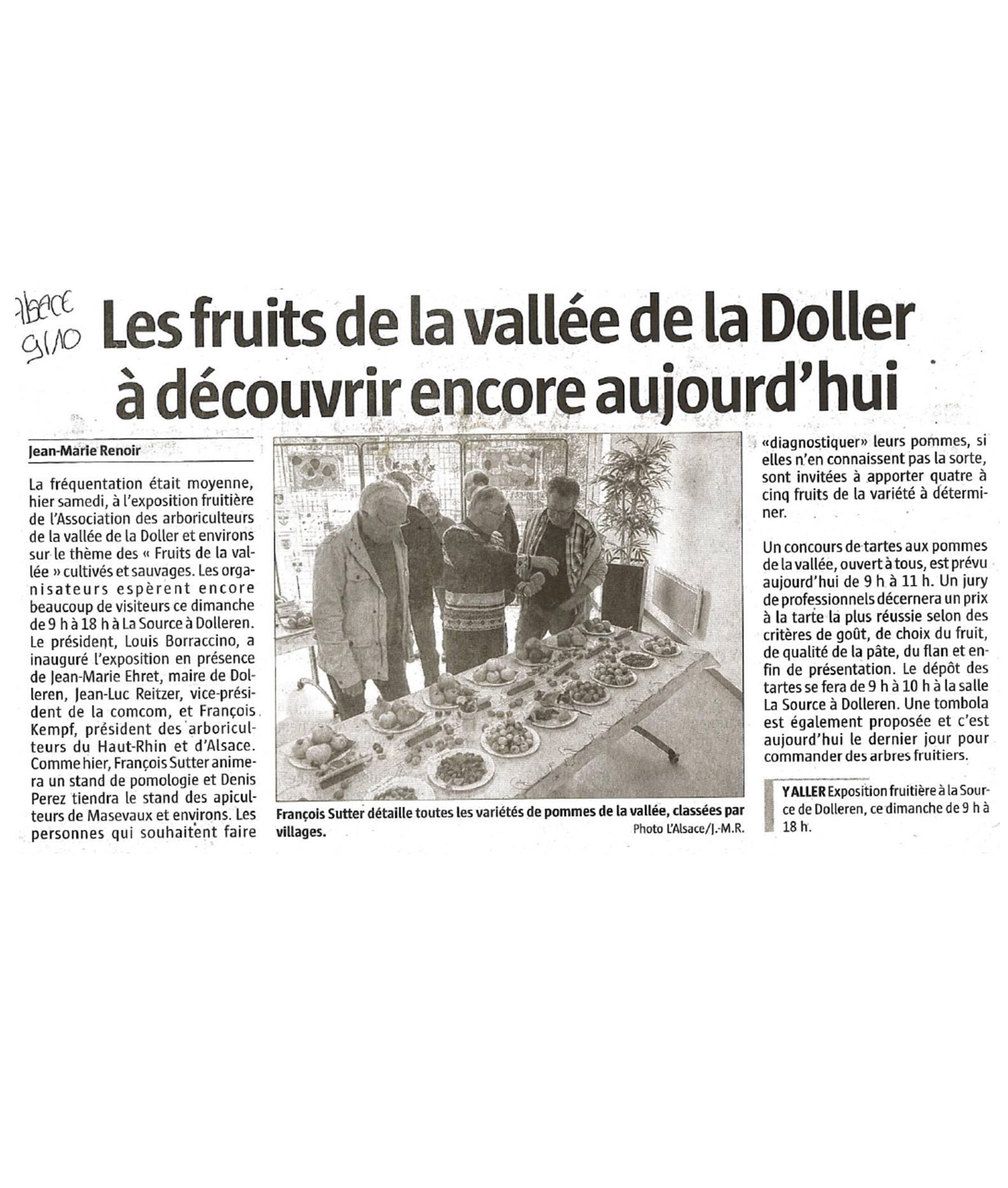 Les fruits de la vallée de la Doller à découvrir encore aujourd'hui - L'Alsace - 09-10-2016