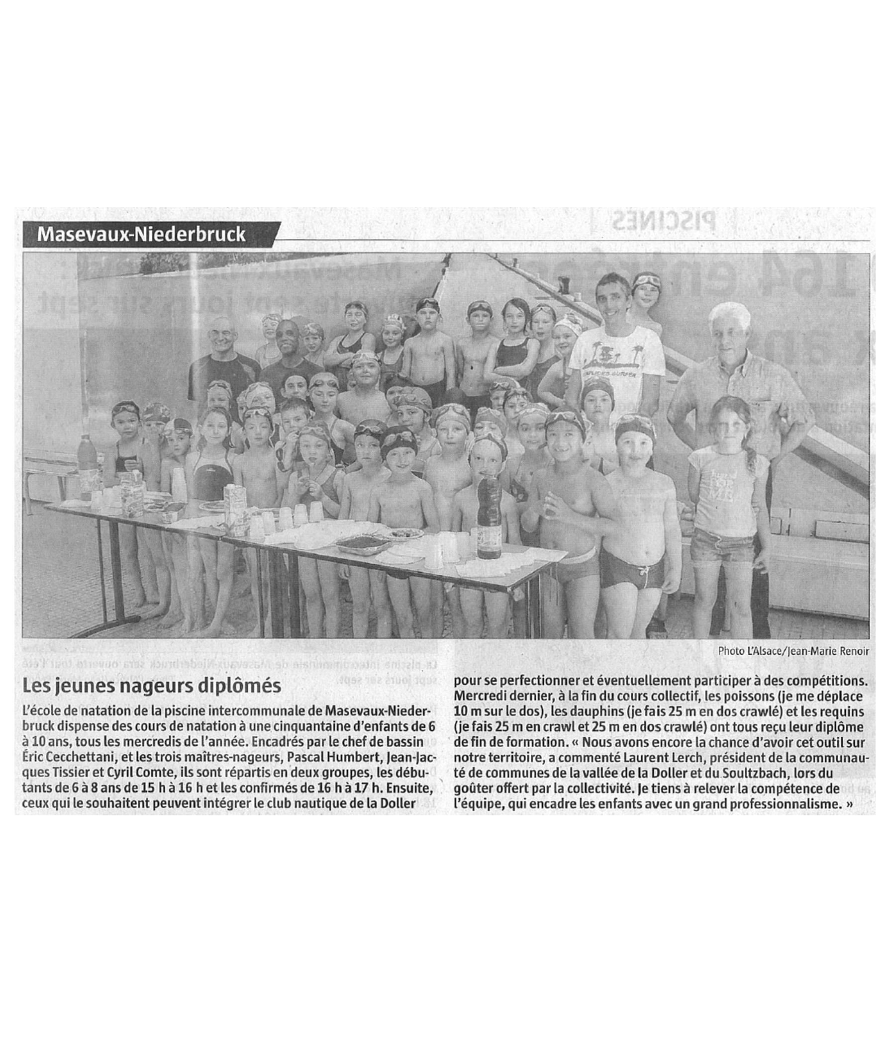 Les jeunes nageurs diplômés - L'Alsace - 24-06-2016