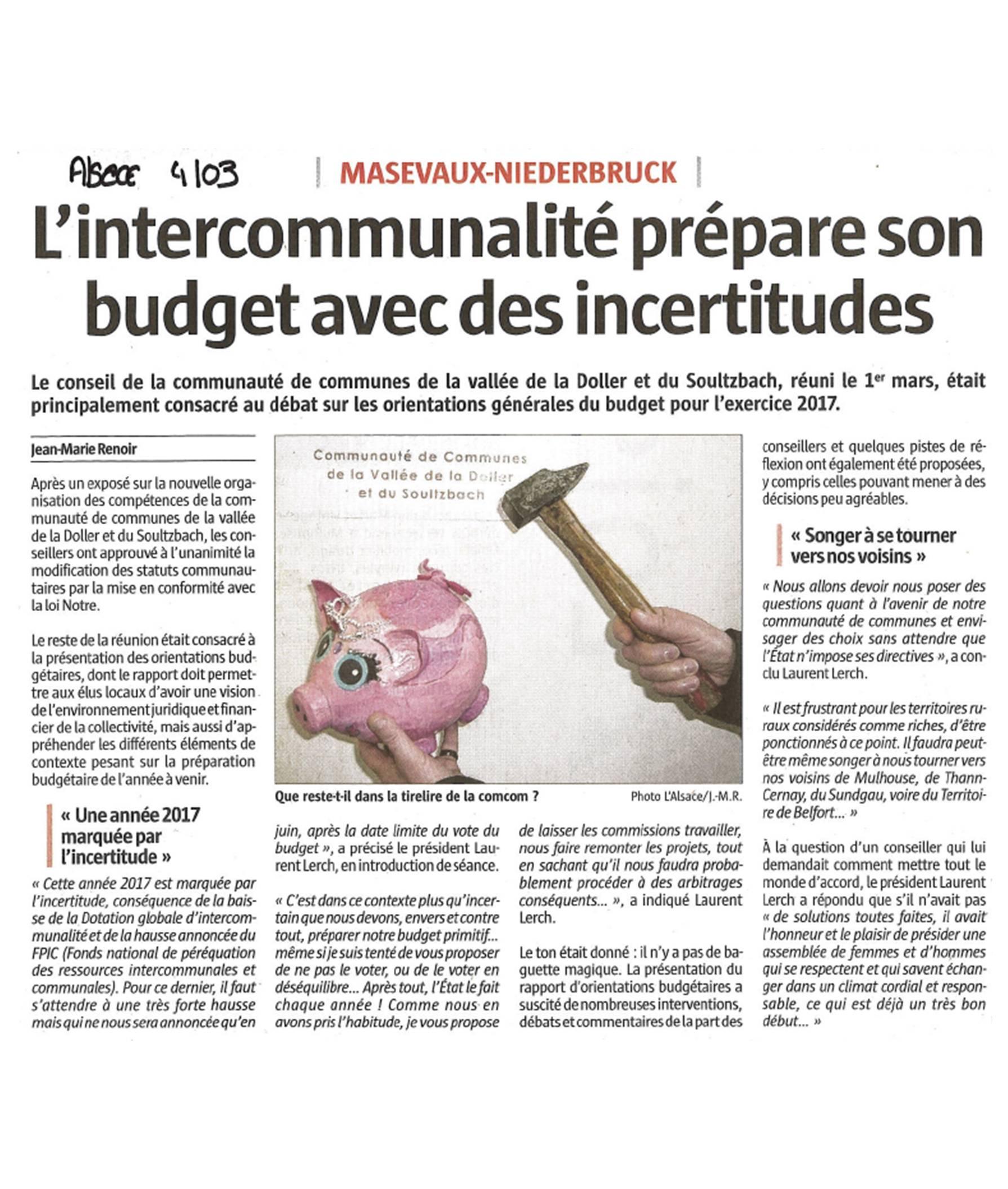L'intercommunalité prépare son budget avec des incertitudes - L'Alsace (04-03-2017)