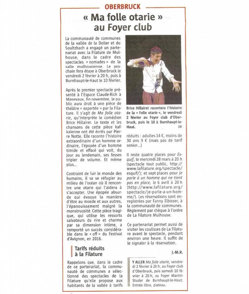 Ma Folle Otarie au Foyer Club - L'Alsace - 25-01-2018
