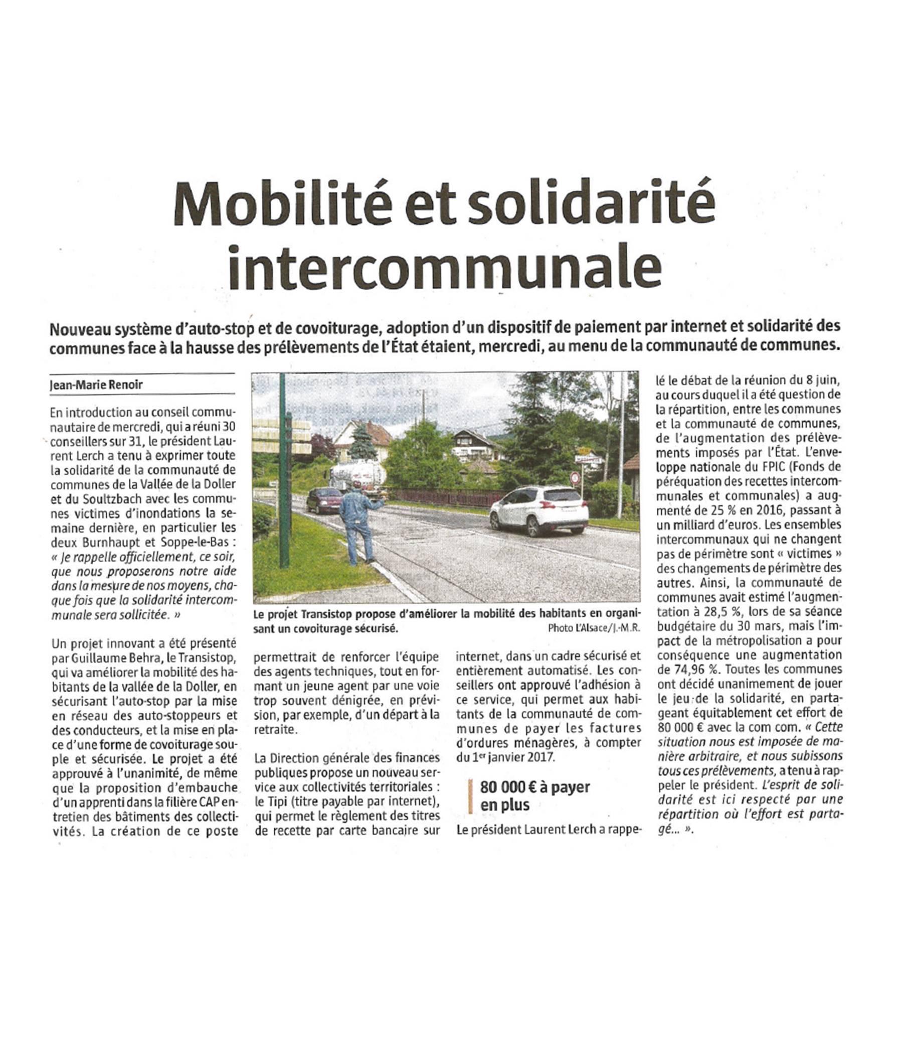 Mobilité et solidarité intercommunale - L'Alsace - 02-07-2016