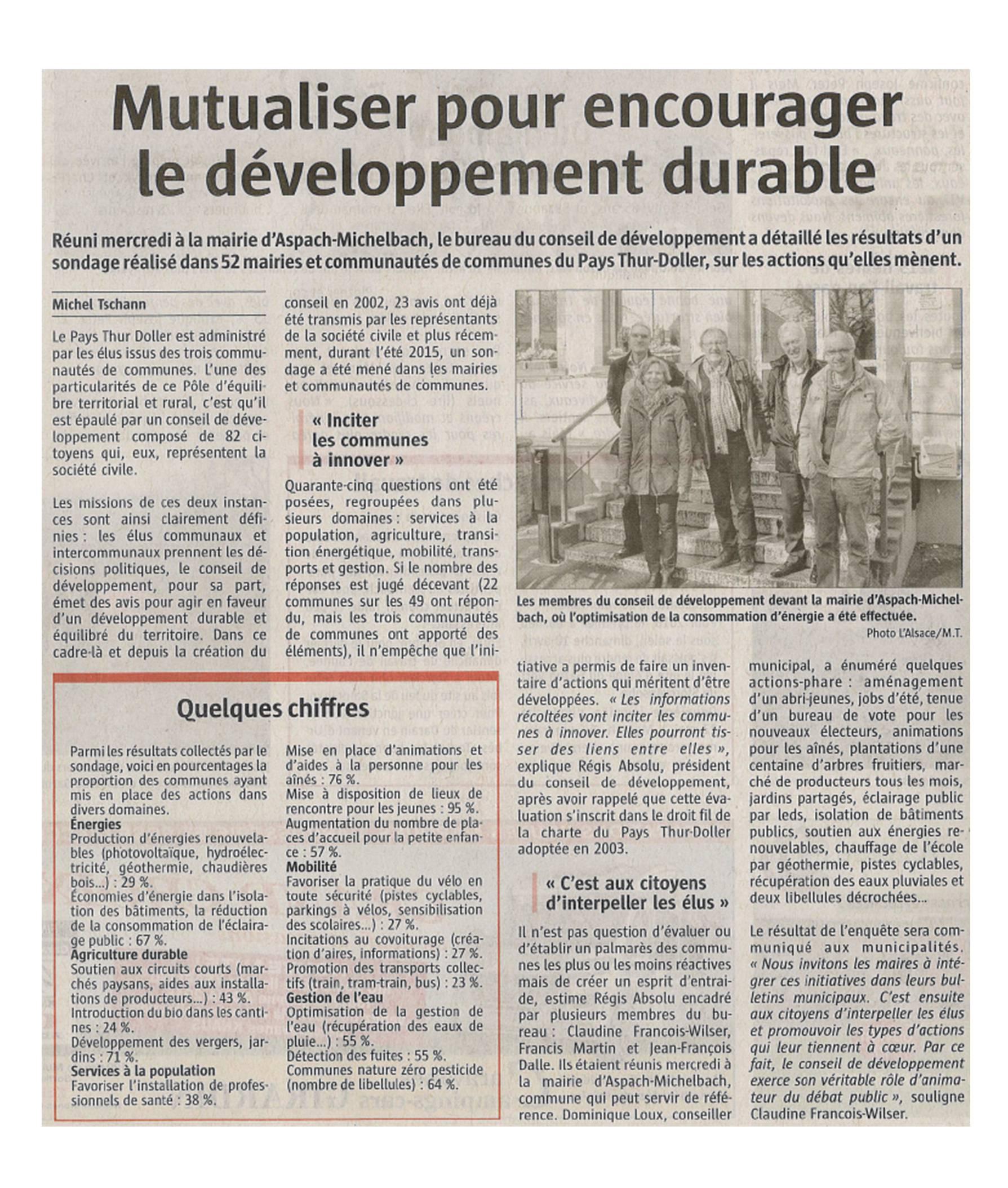 Mutualiser pour encourager le développement durable - L'Alsace