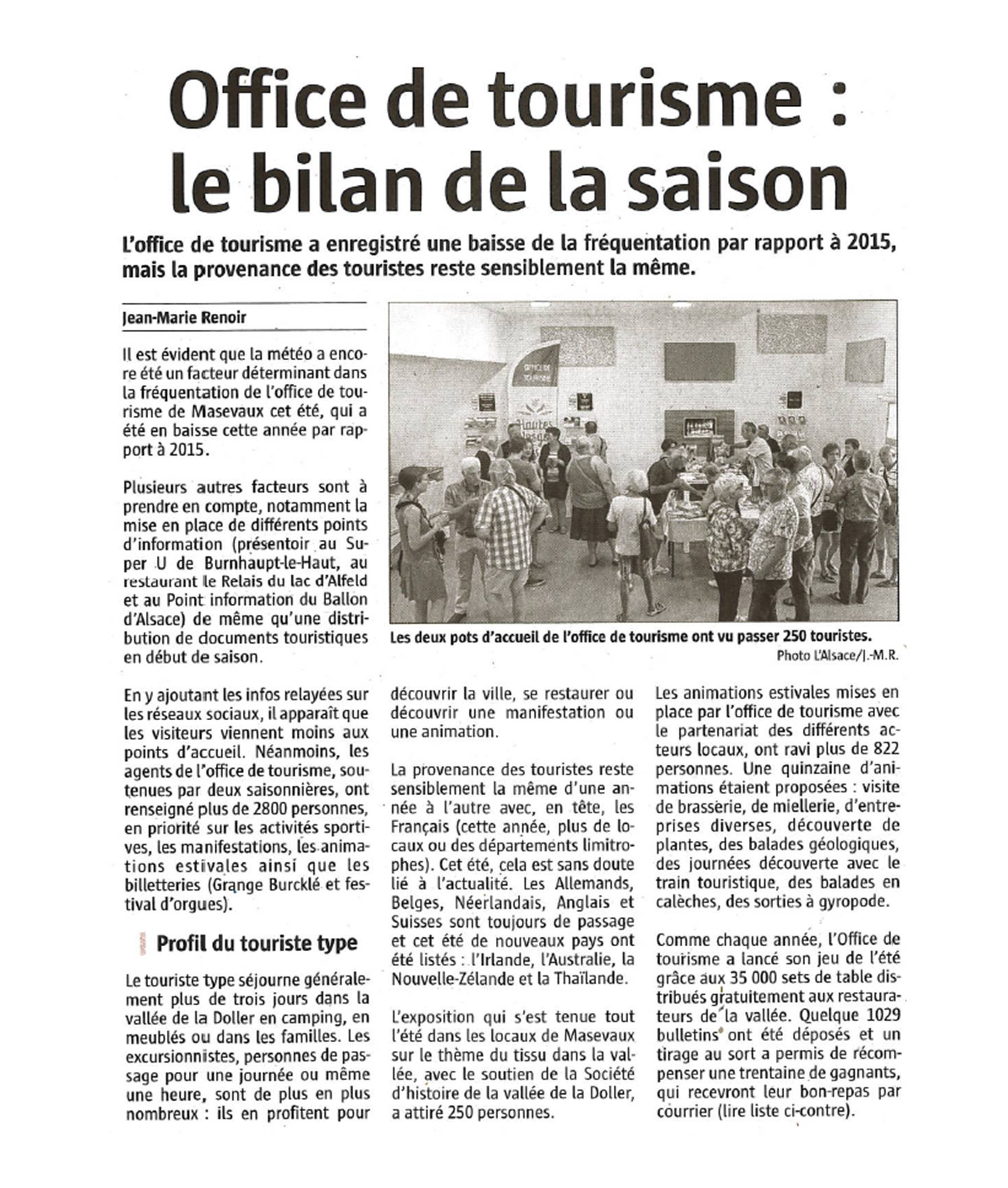 Office de Tourisme, le bilan de la saison - L'Alsace - 22-09-2016