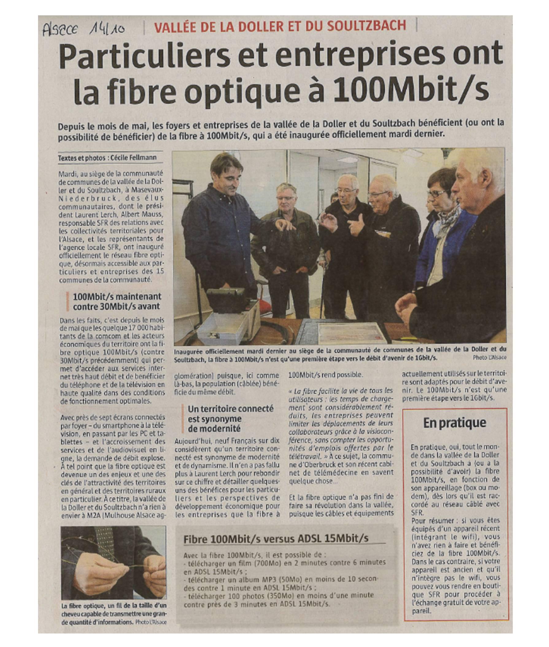 Particuliers et entreprises ont la fibre optique à 100mbits - L'Alsace - 14-10-2016