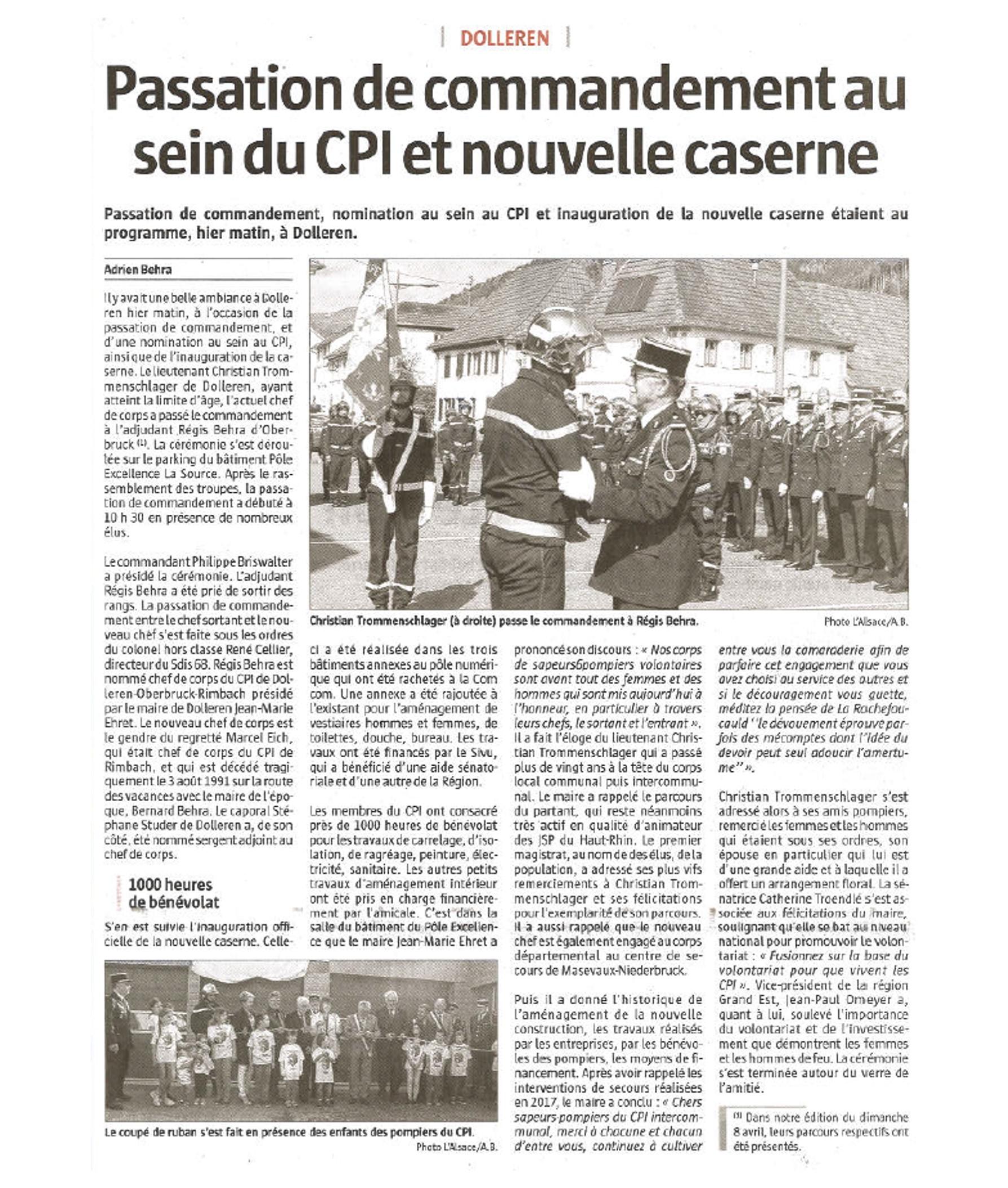 Passation de commandement au sein du CPI et nouvelle caserne - L'Alsace (16-04-2018)