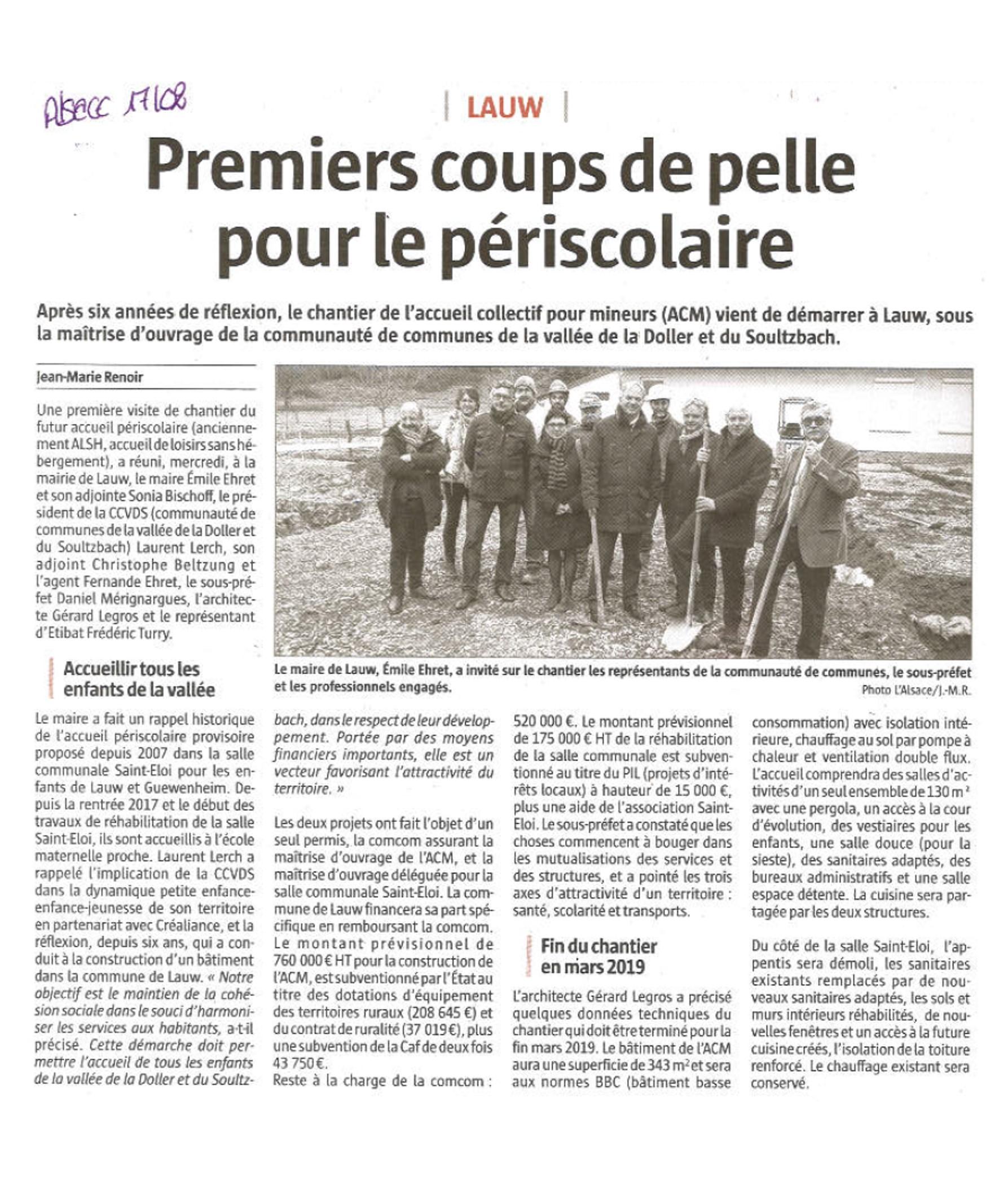 Premiers coups de pelle pour le périscolaire - L'Alsace (17-02-2018)