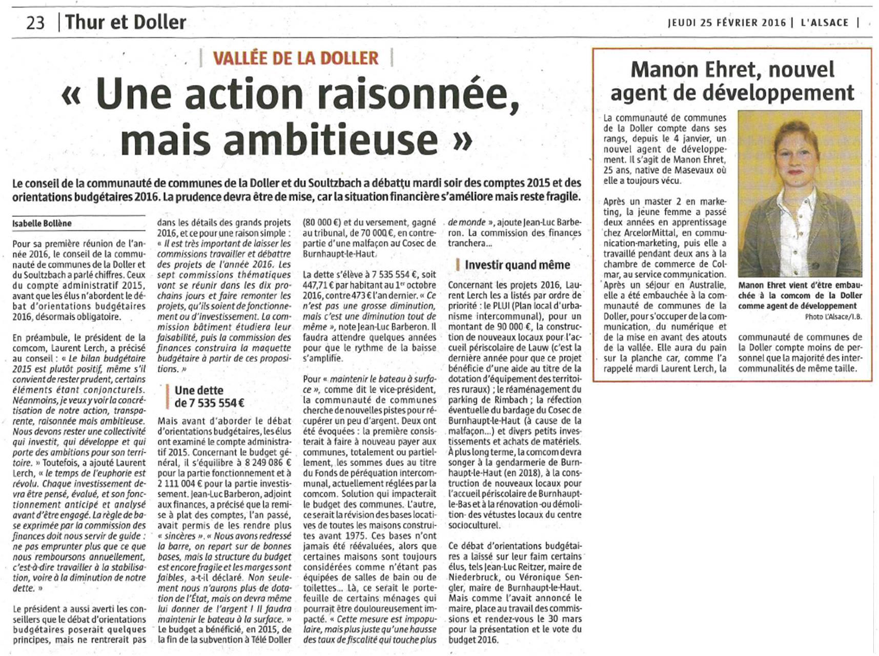 Presse - Conseil communautaire (25-02-2016)