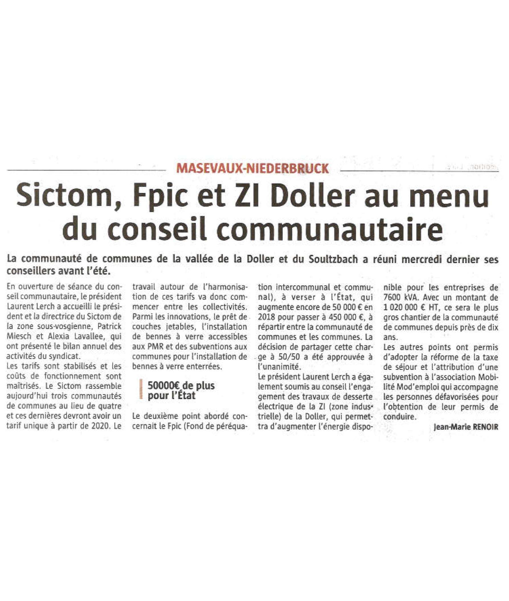 SICTOM, FPIC et ZI Doller au menu du Conseil Communautaire - L'Alsace (30-06-2018)