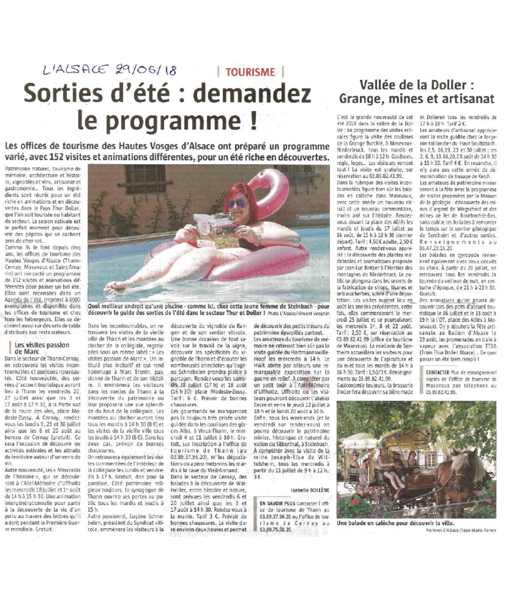 Sorties d'été - Demandez le programme - L'Alsace (29-06-2018)