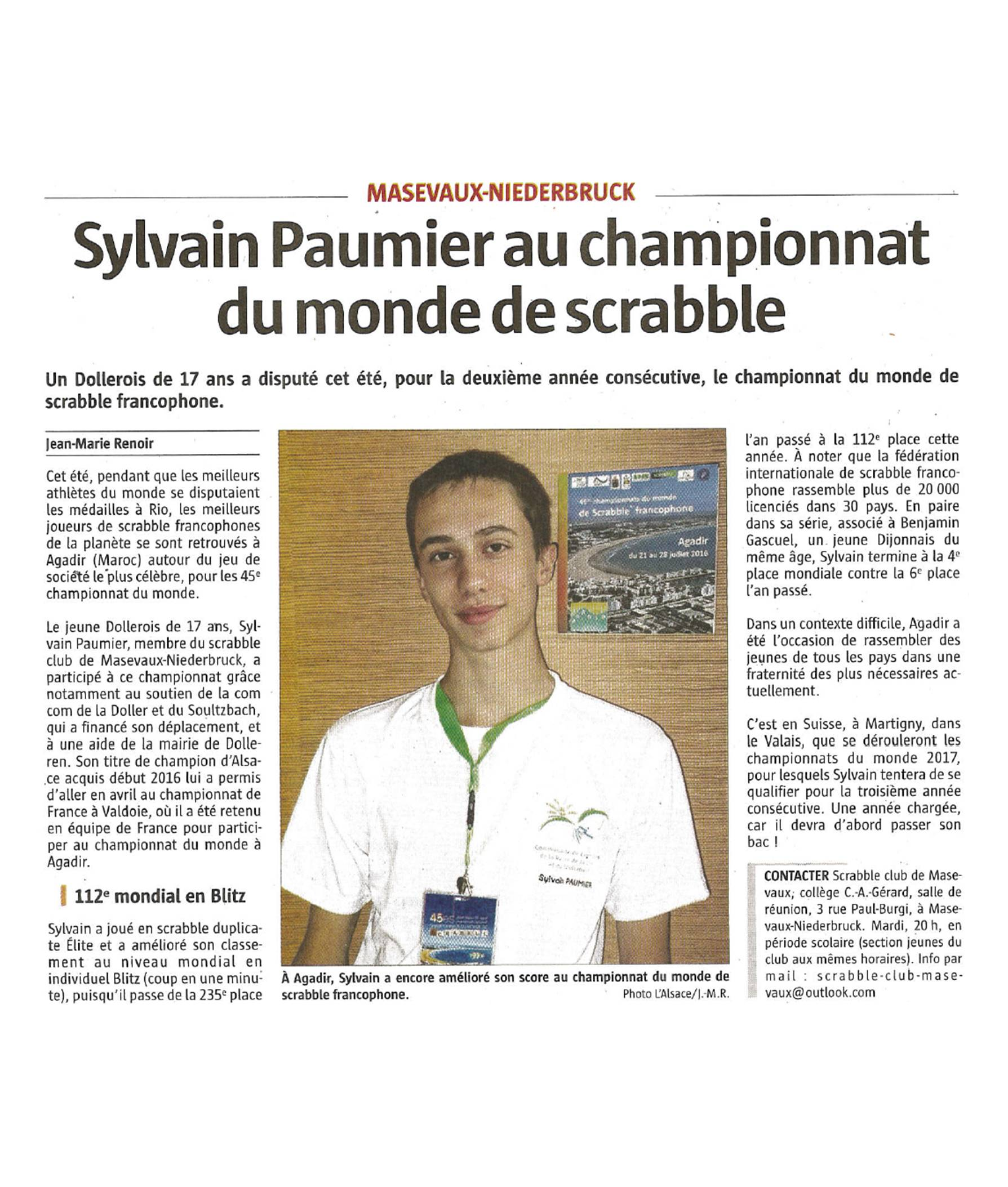 Sylvain Paumier au championnat du monde de scrabble - L'Alsace - 23-08-2016