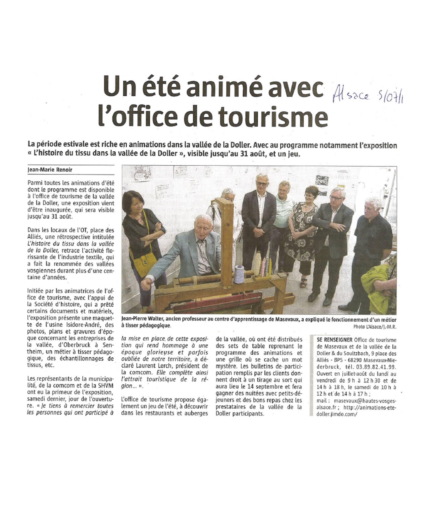Un été animé avec l'Office de Tourisme - L'Alsace - 05-07-2016