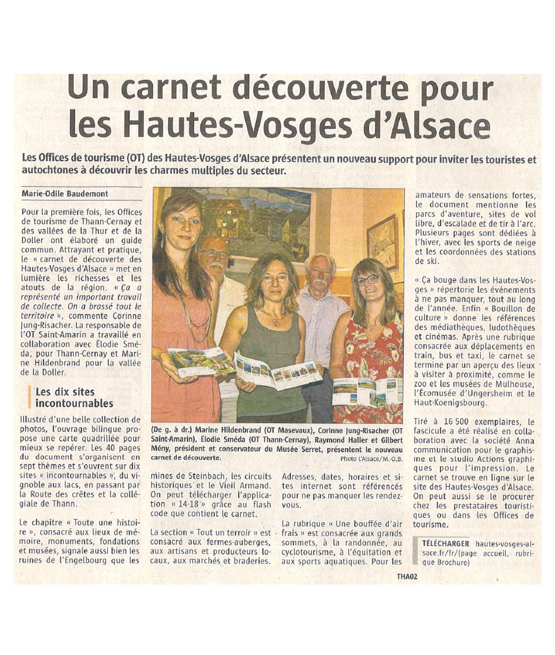 Un carnet découverte pour les Hautes-Vosges d'Alsace - L'Alsace - 29-06-2017