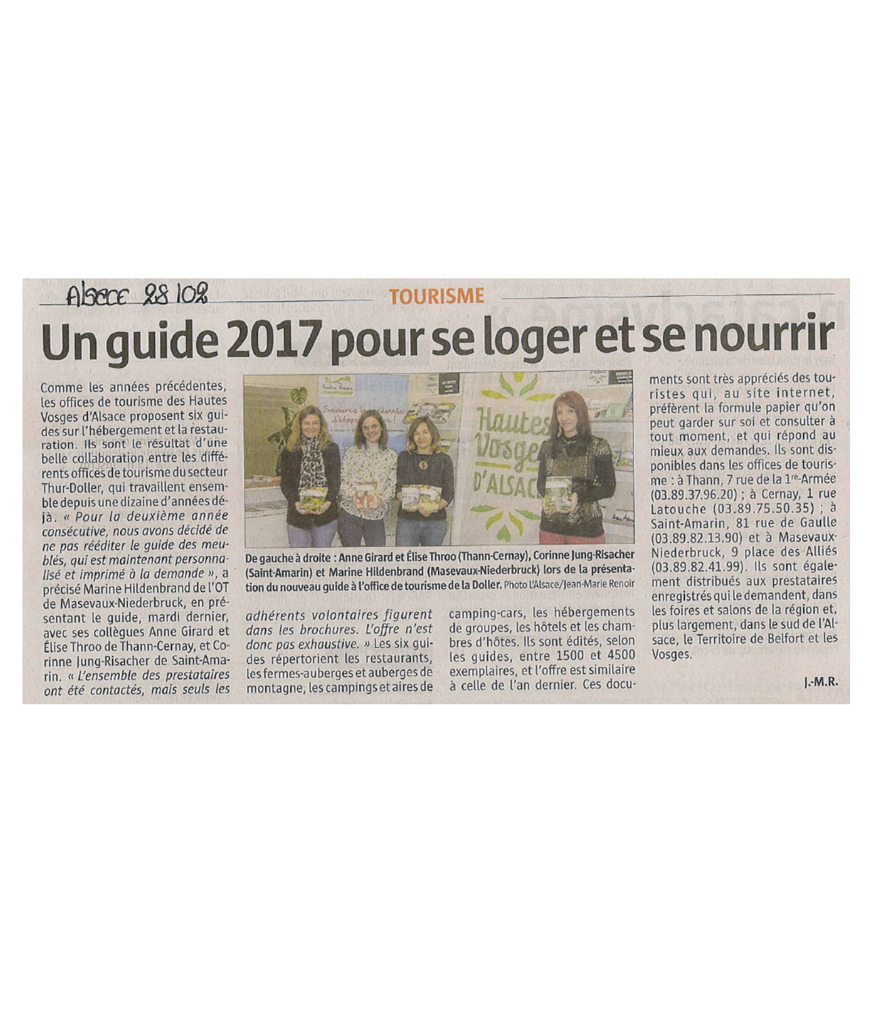 Un guide 2017 pour se loger et se nourrir - L'Alsace (28-02-2017)