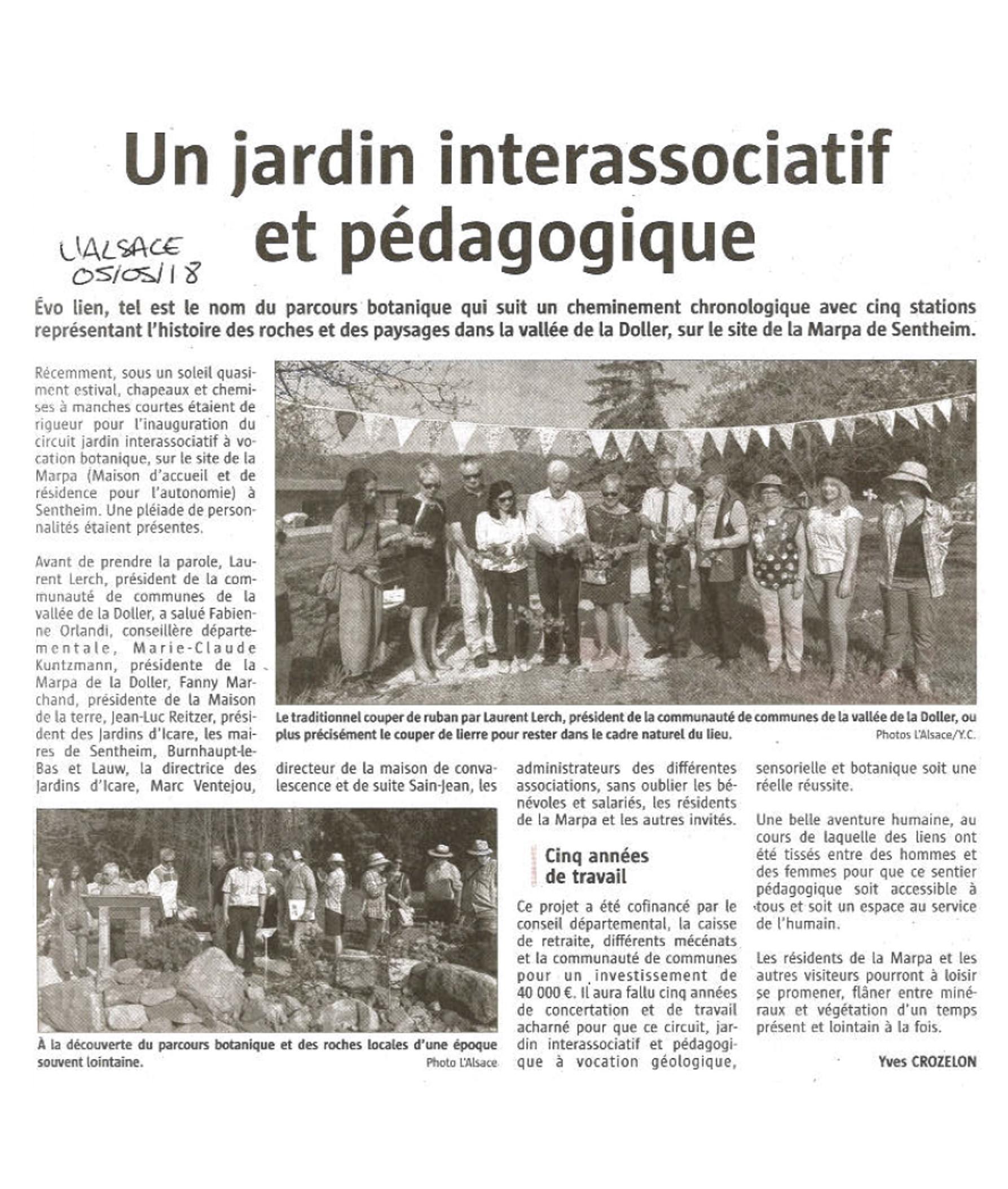Un jardin interassociatif et pédagogique - L'Alsace (05-05-2018)