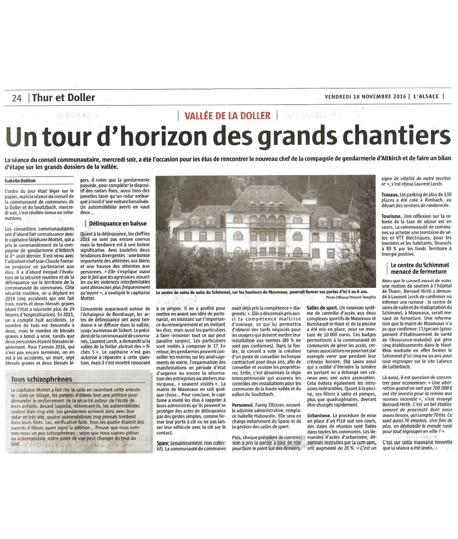 Un tour d'horizon des grands chantiers - L'Alsace (18-11-2016)