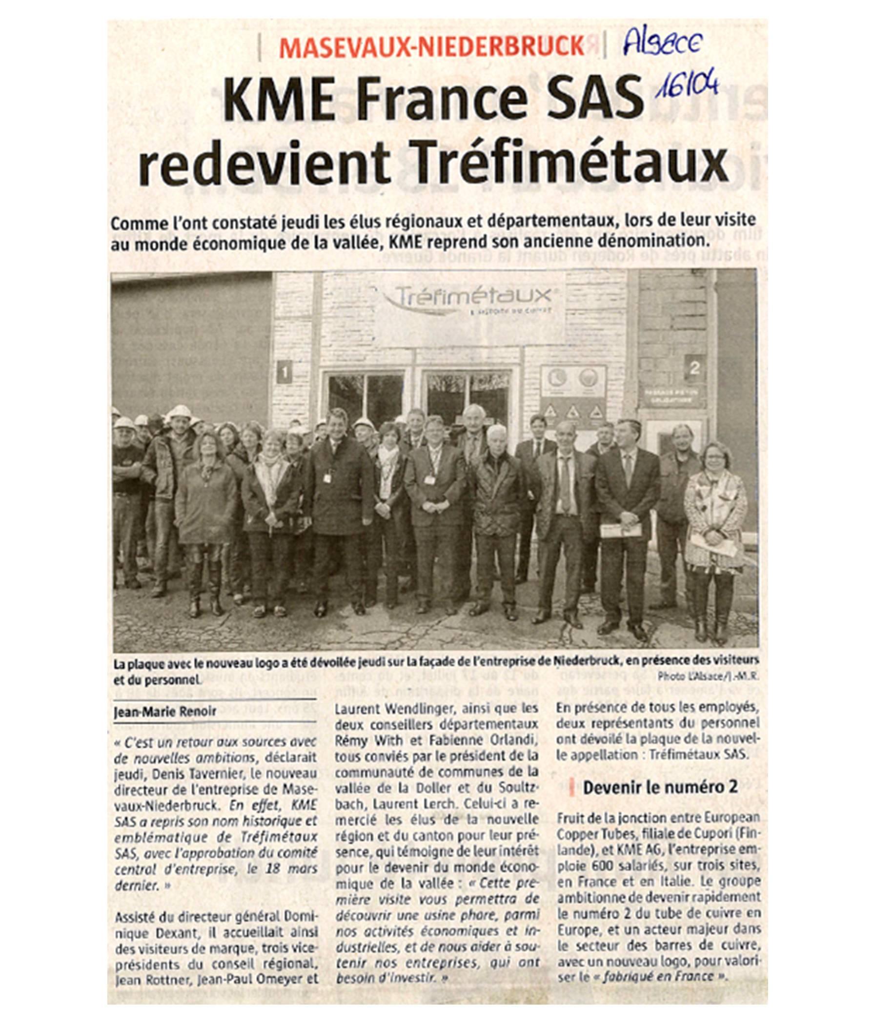 Visite de l'entreprise Tréfimétaux à Niederbruck