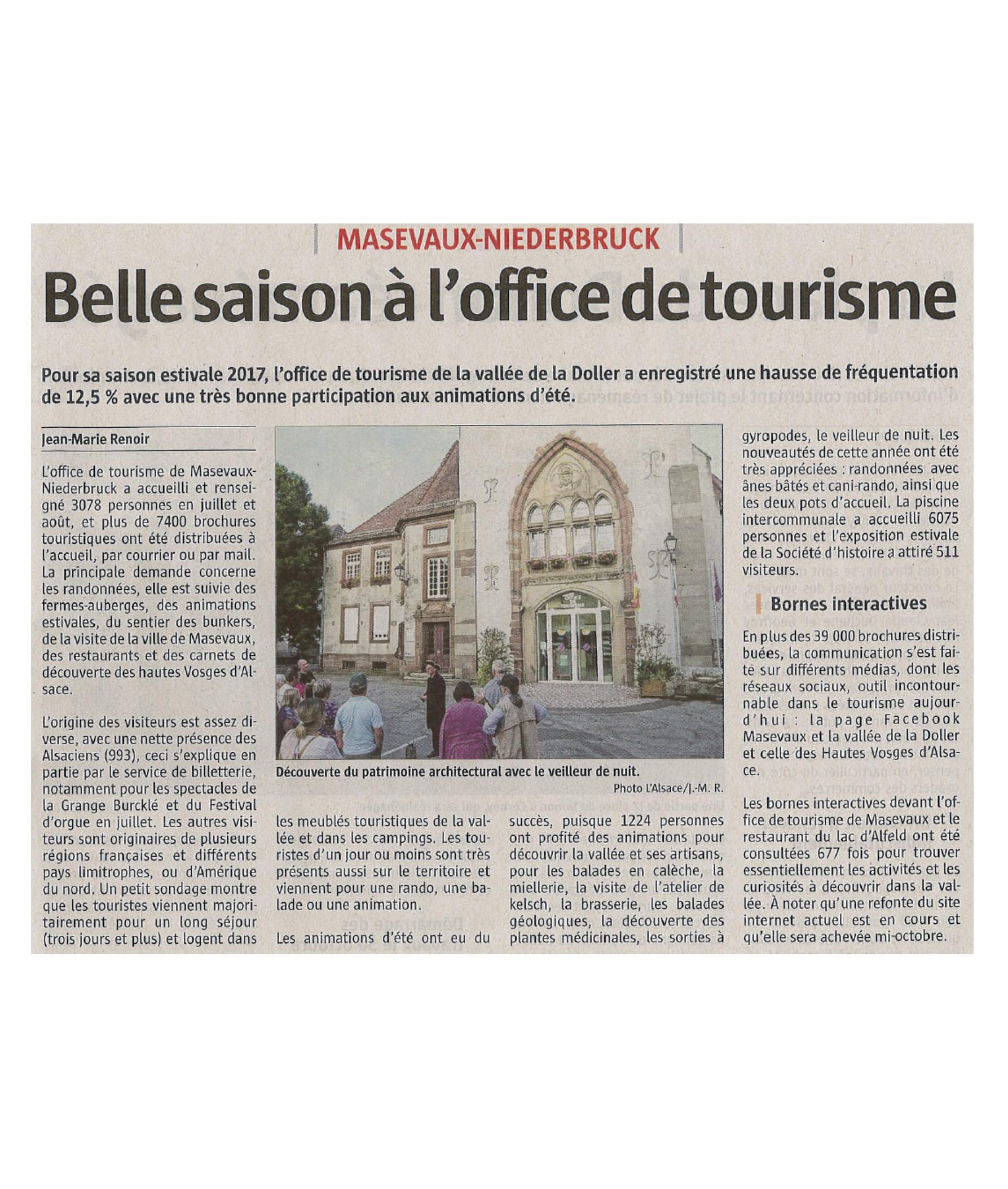 Belle saison à l'Office de Tourisme - L'Alsace - 22-09-2017