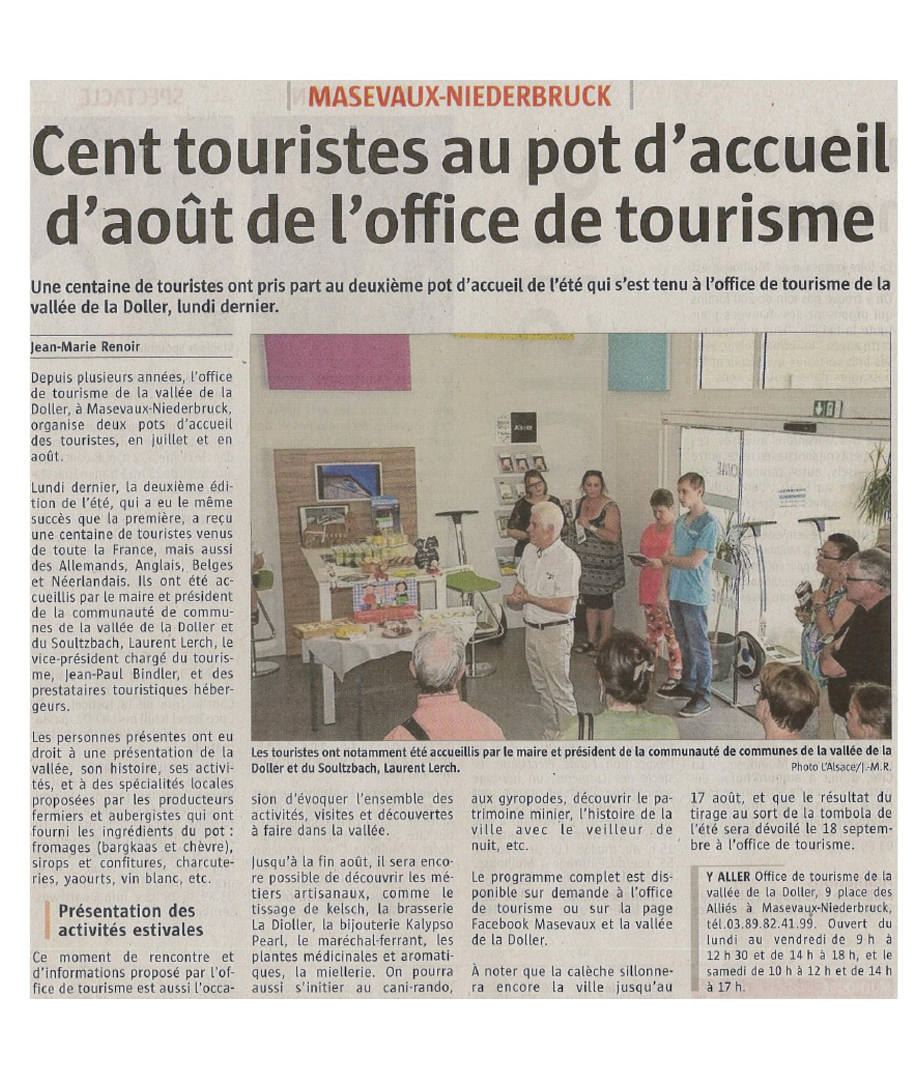 Cent touristes au pot d'accueil - L'Alsace - 11-08-2017
