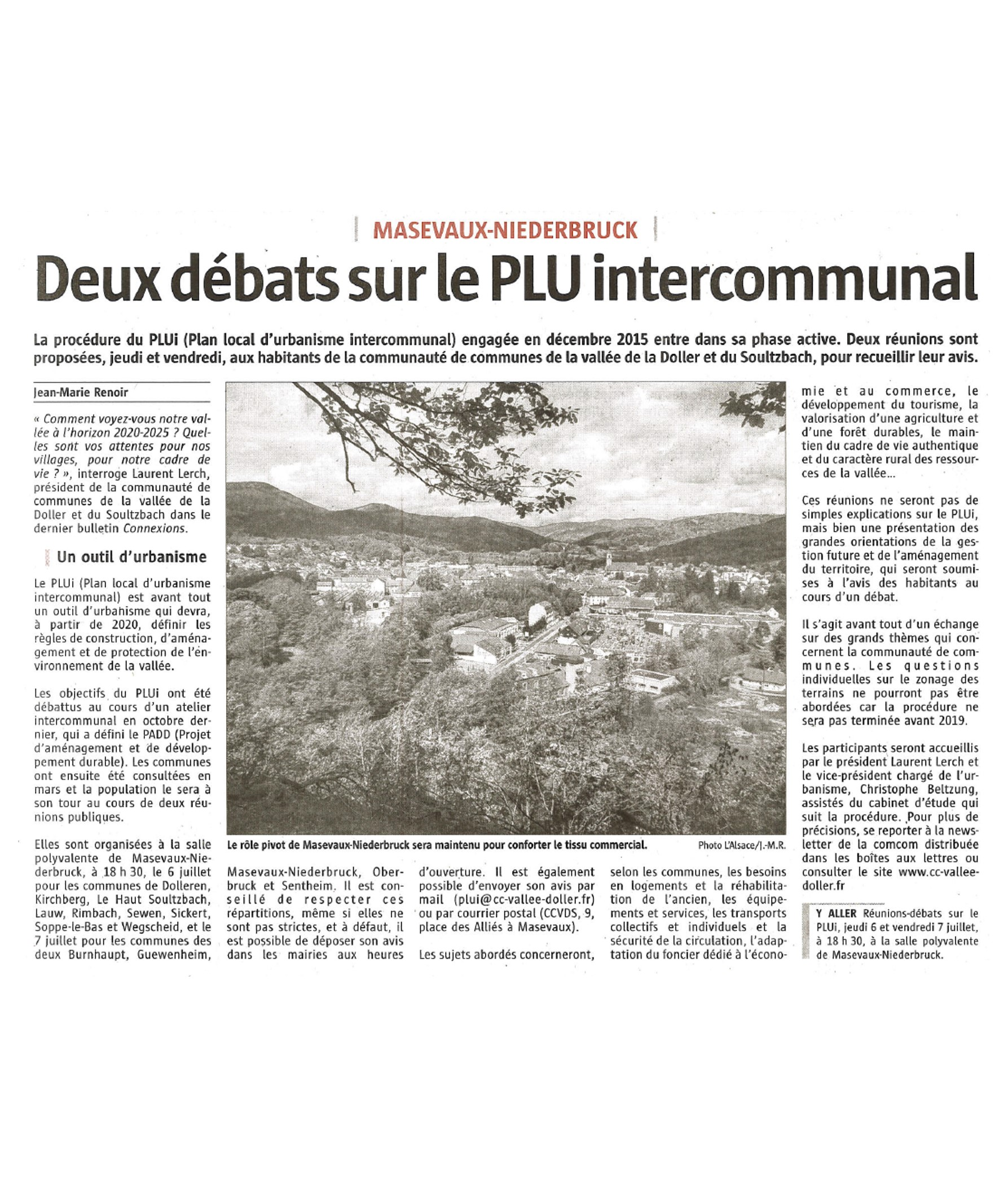 Deux débats sur le PLU intercommunal - L'Alsace - 03-07-2017