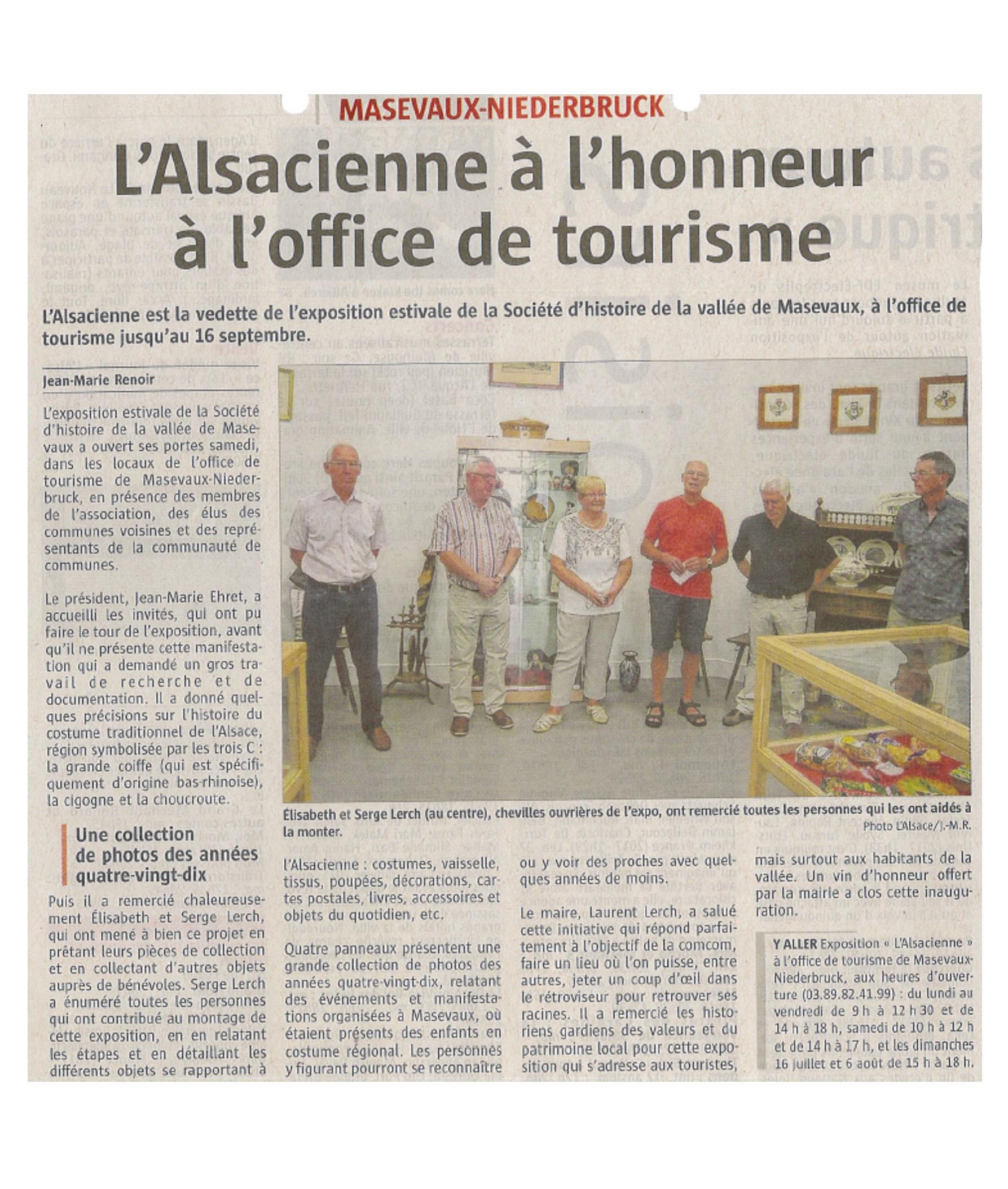L'Alsacienne à l'honneur à l'Office de Tourisme - L'Alsace - 11-07-2017