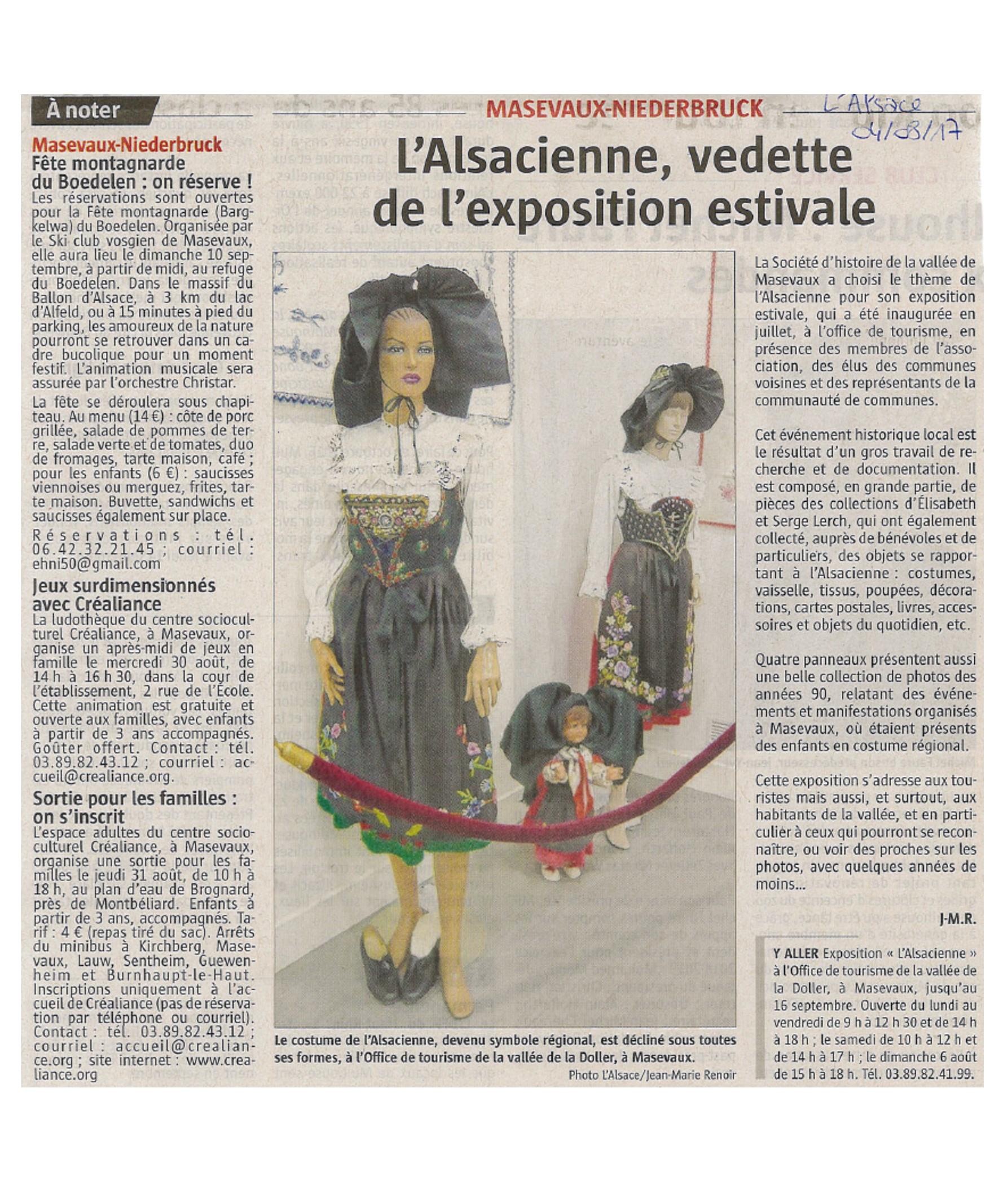 L'Alsacienne, vedette de l'exposition estivale - L'Alsace - 04-08-2017