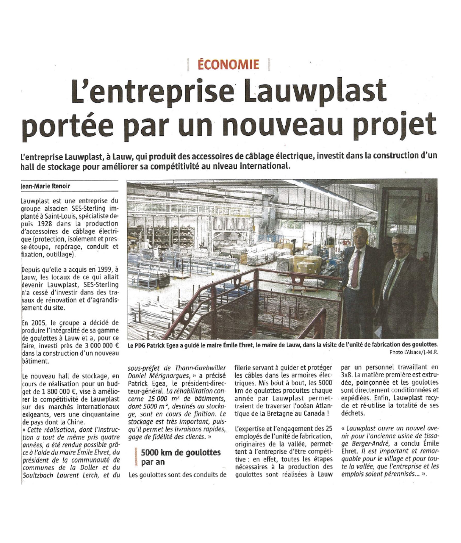Lauwplast portée par un nouveau projet - L'Alsace - 21-09-2017