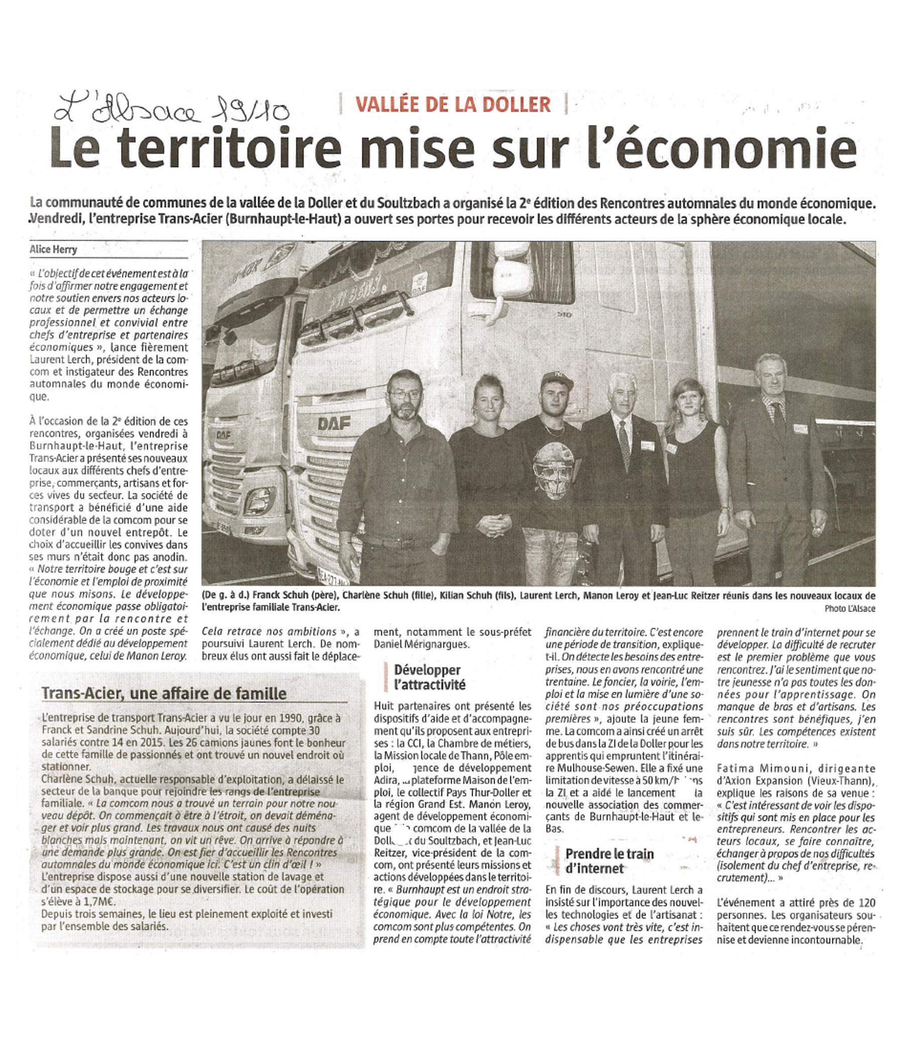 Le territoire mise sur l'économie - L'Alsace - 19-10-2017