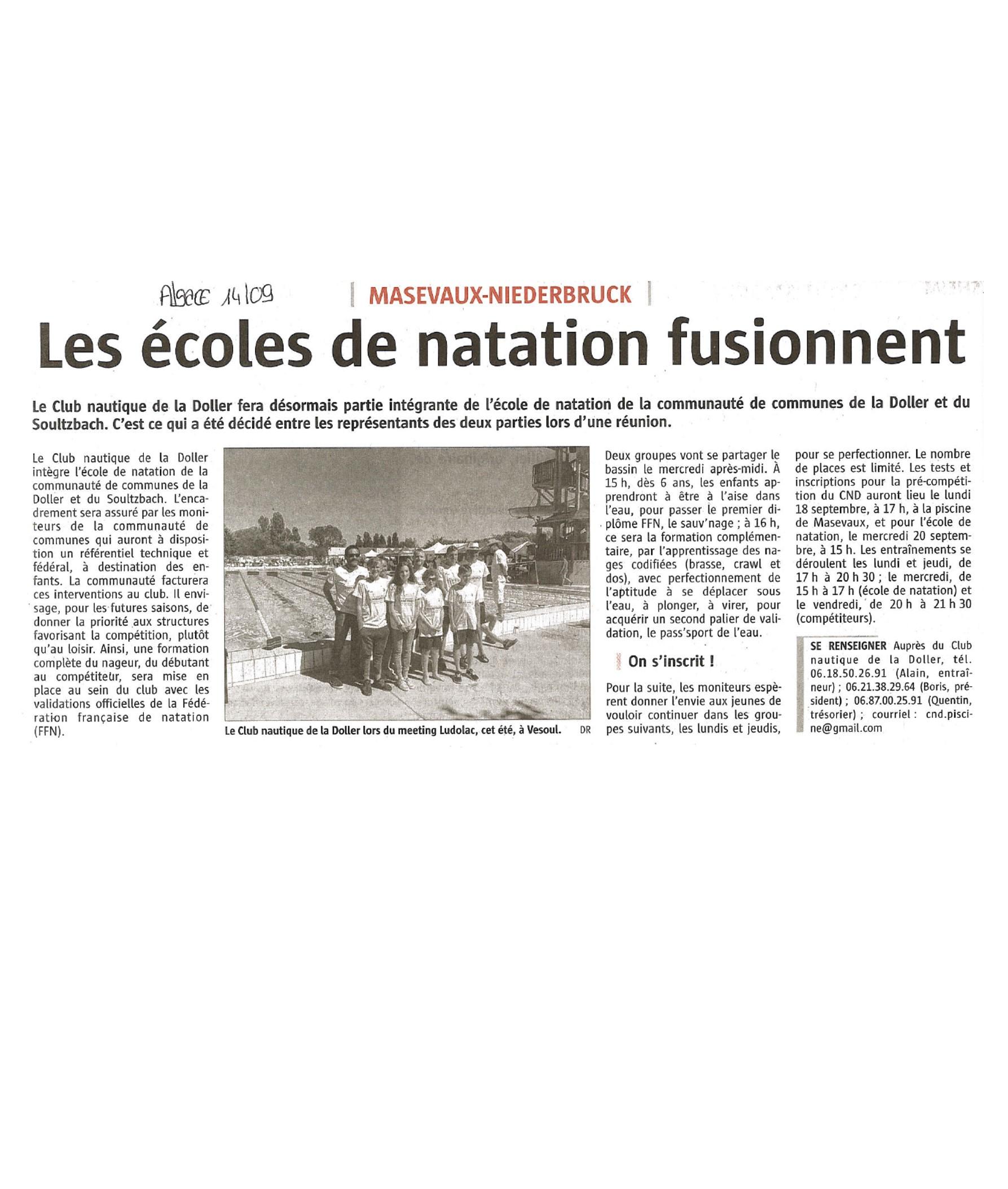 Les écoles de natation fusionnent - L'Alsace - 14-09-2017