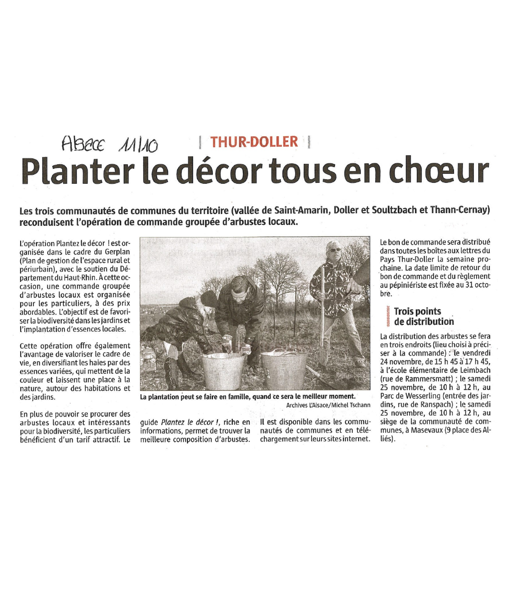 Planter le décor tous en choeur - L'Alsace - 11-10-2017