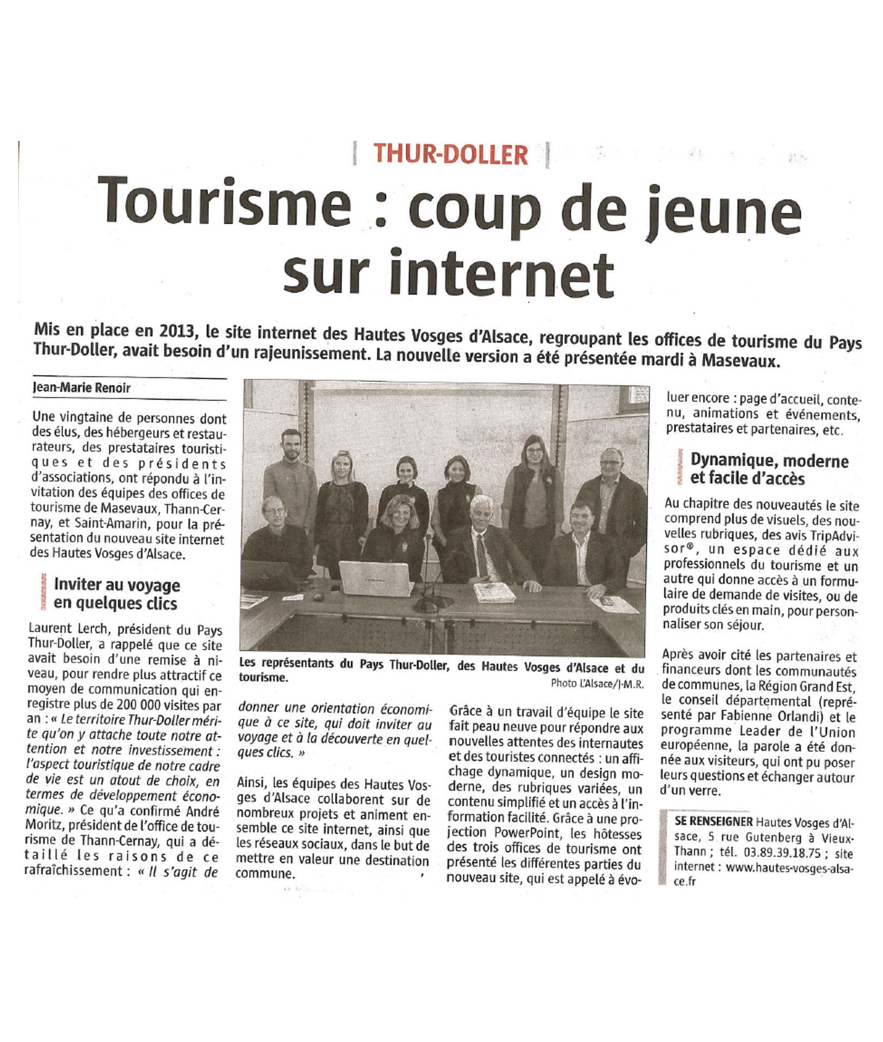Tourisme, coup de jeune sur Internet - L'Alsace - 17-11-2017