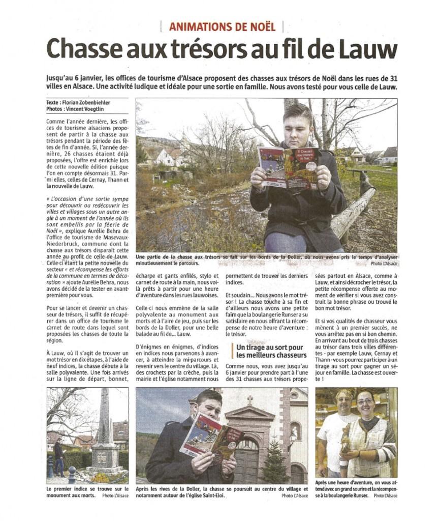 Chasse aux trésors au fil de Lauw - L'Alsace - 29-11-2017