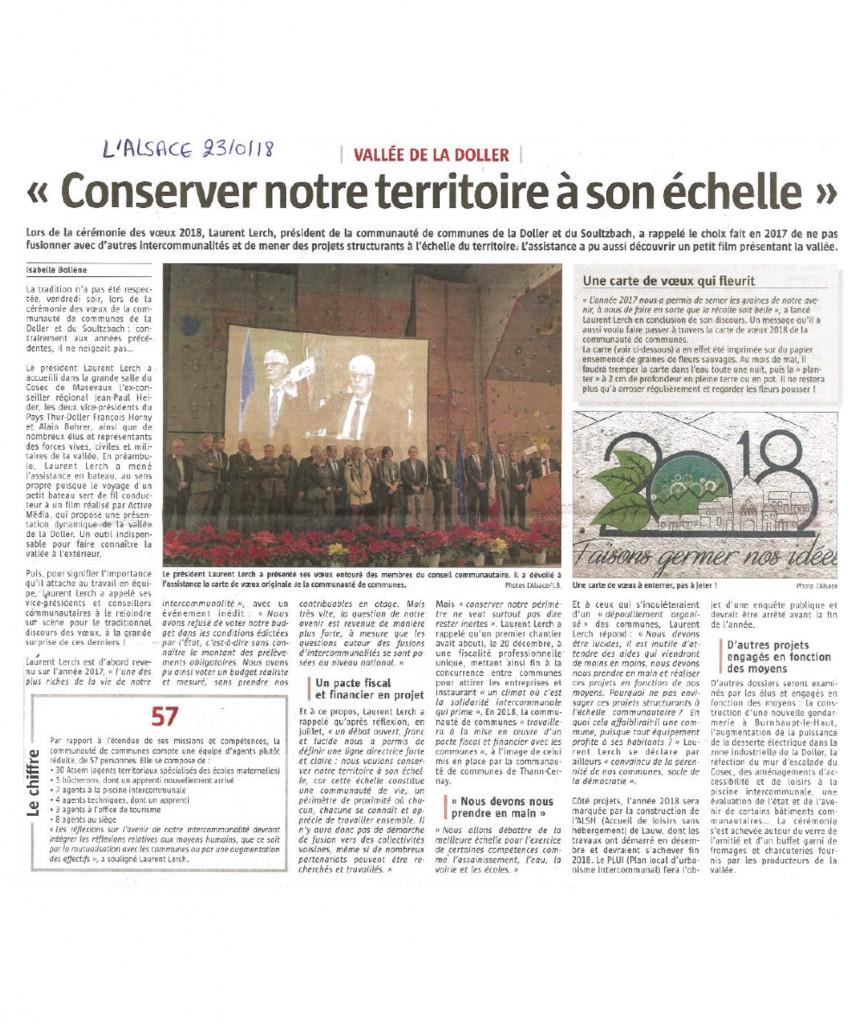 Conserver notre territoire à son échelle - L'Alsace - 23-01-2018